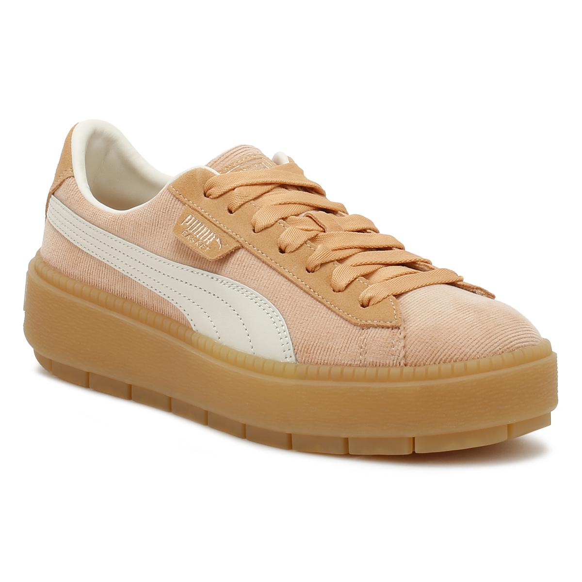 5b5b121cbe9d4a Lyst - PUMA Womens Dusty Coral Corduroy Trace Platform Trainers in ...