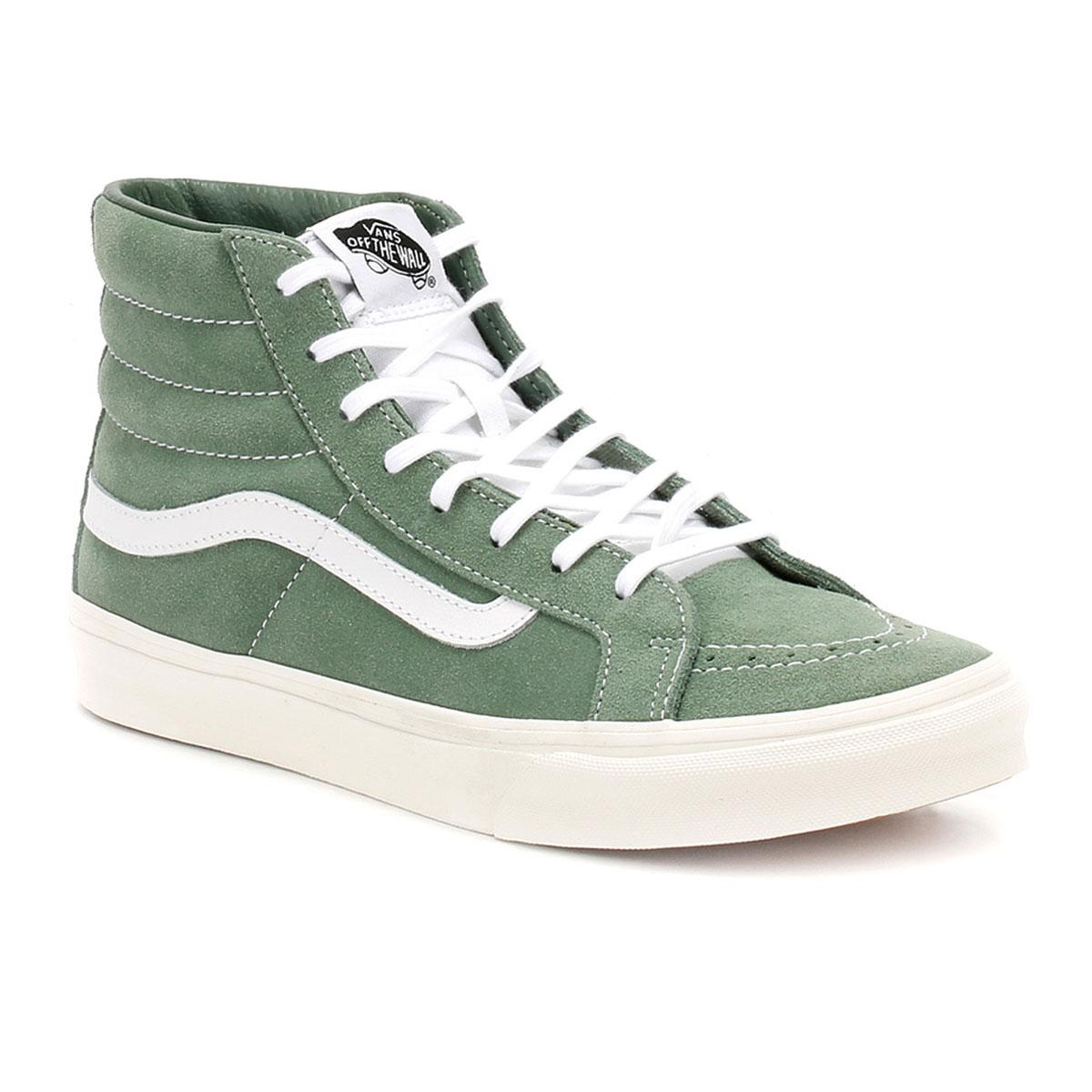 eaf6e9bb2651 Lyst - Vans Womens Green   True White Suede Sk8-hi Slim Trainers in ...