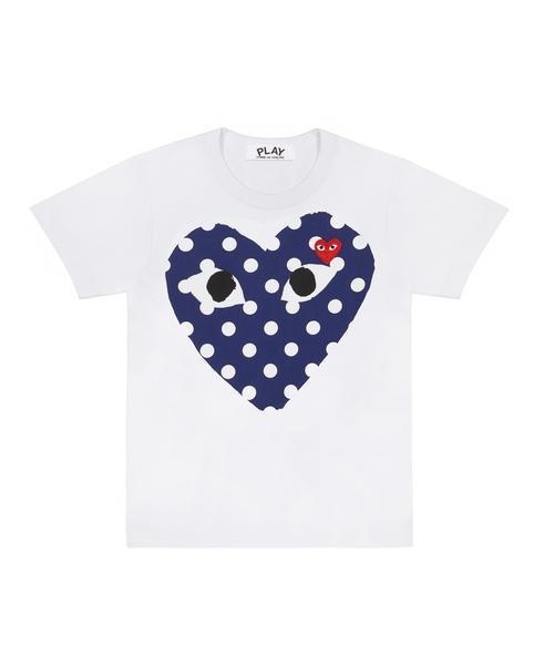 35b51b0a0 COMME DES GARÇONS PLAY White Play T-shirt With Polka Dot Printed ...