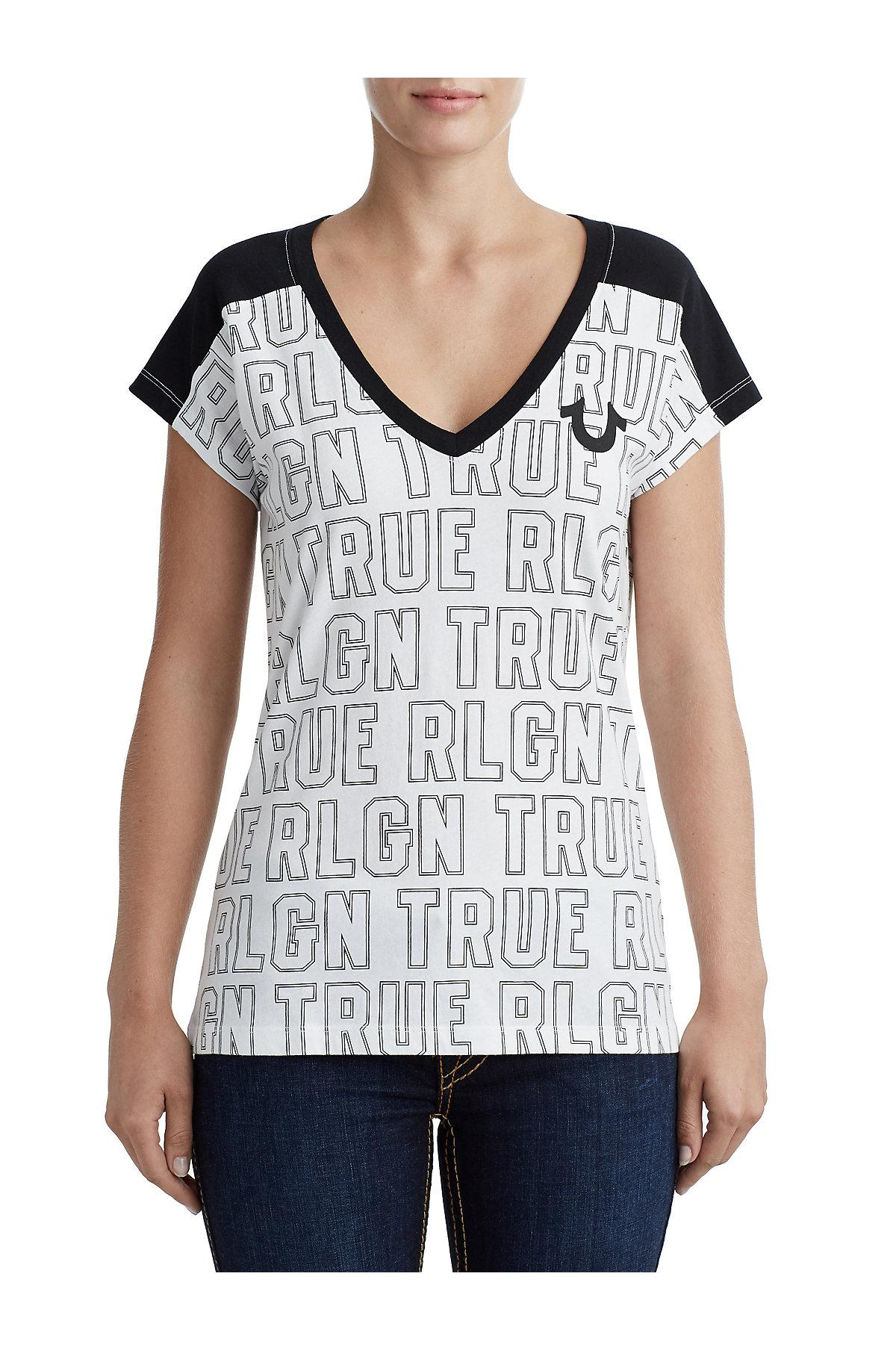 bcda01694 Lyst - True Religion Panel Deep V Neck Graphic Tee in White