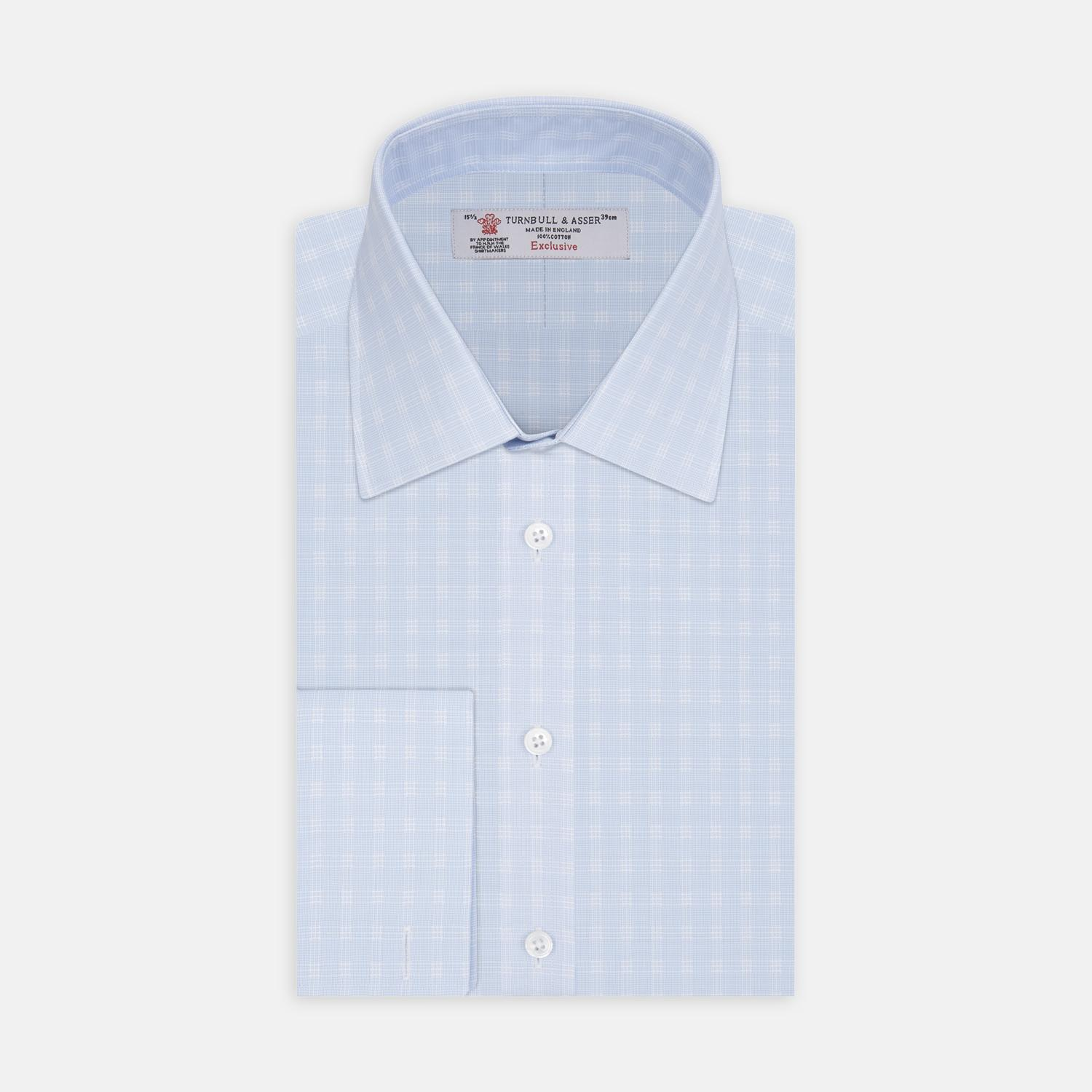 Low Price Fee Shipping Pale Blue and White Check Cotton Shirt Turnbull & Asser Official Site The Best Store To Get Outlet Best Store To Get FwoUfOv