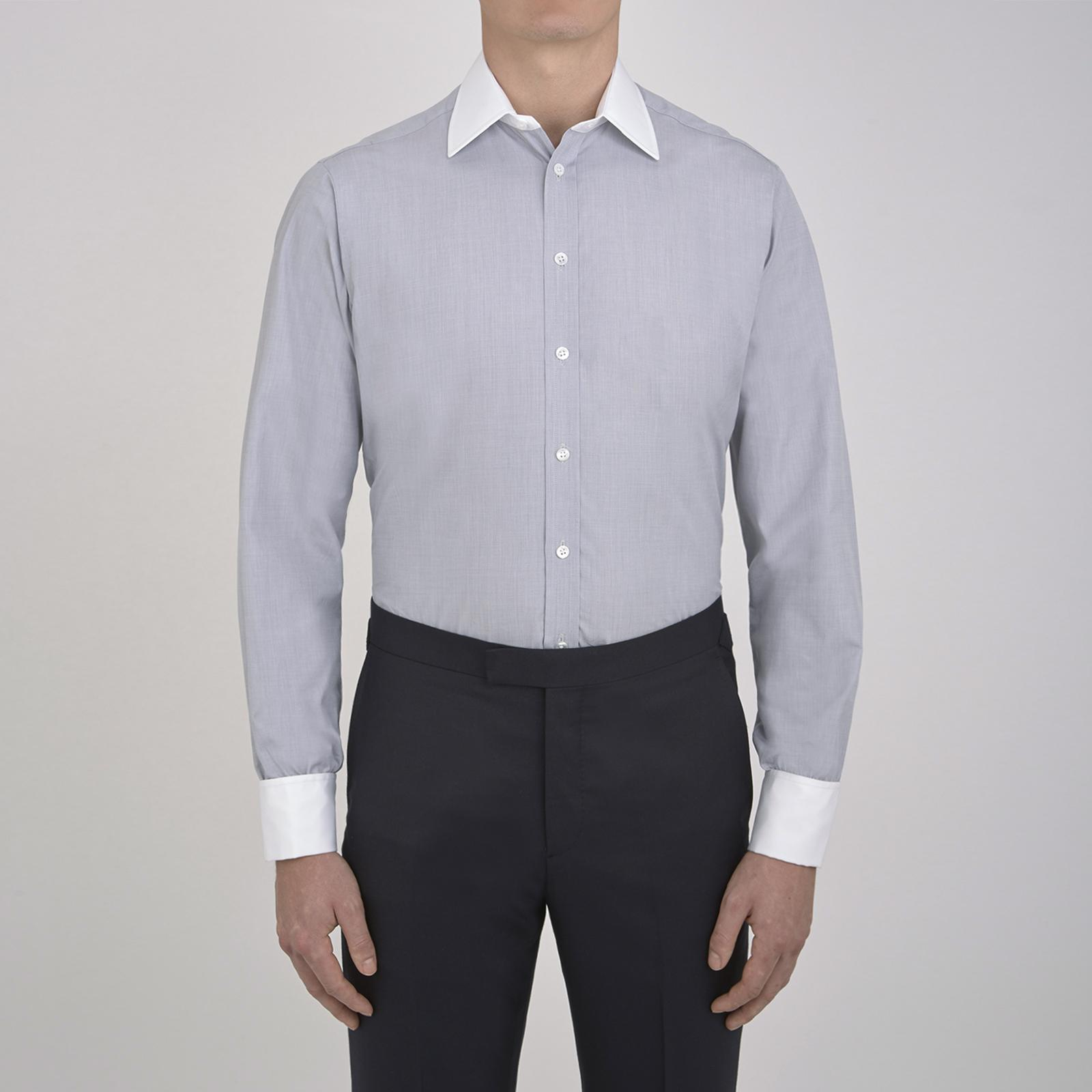 59f3768c05 Turnbull   Asser Light Grey End-on-end Cotton Shirt With White ...