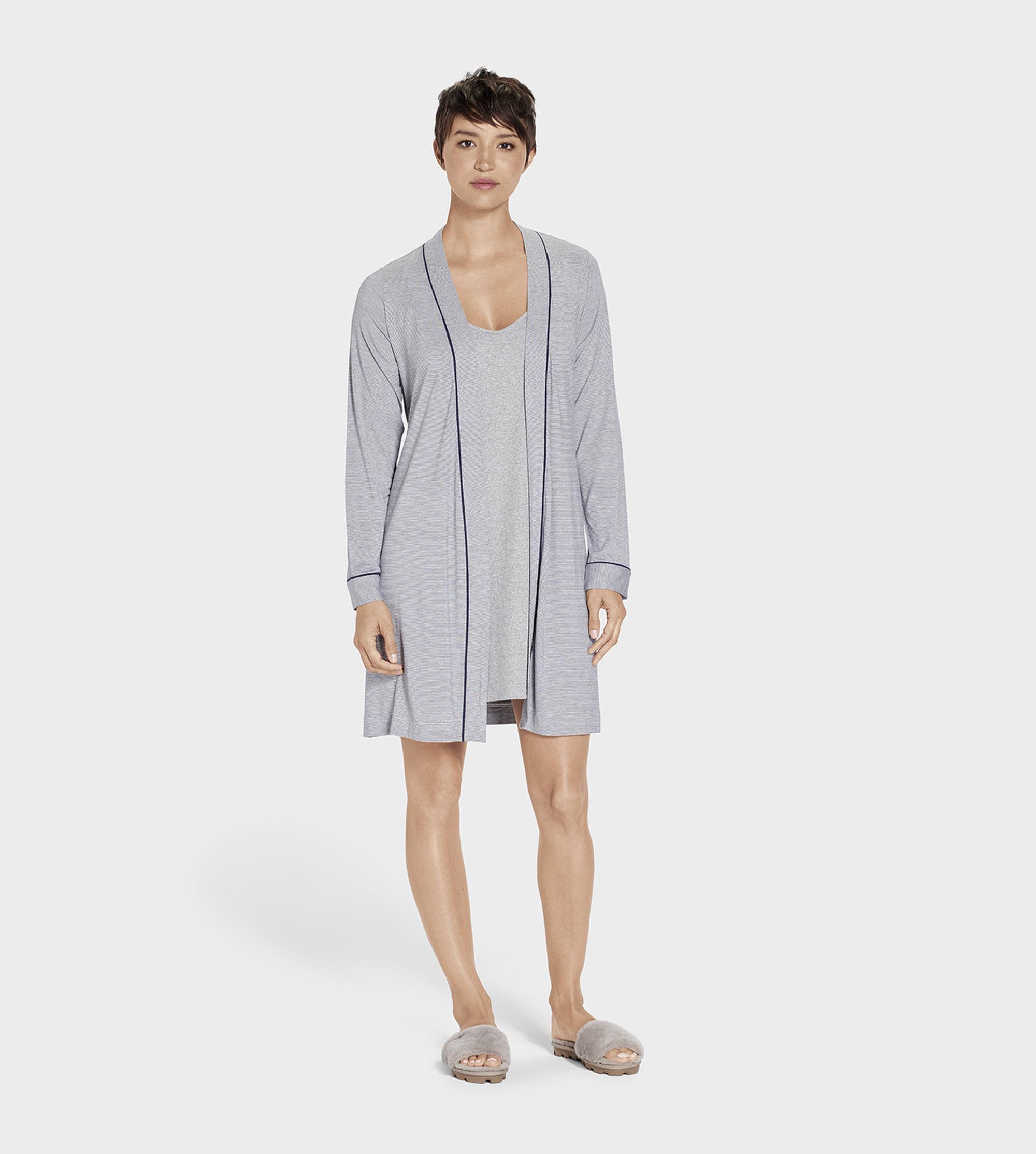 6fef1f980c Lyst - Ugg Women s Aldridge Mini Stripe Dressing Gown in Blue