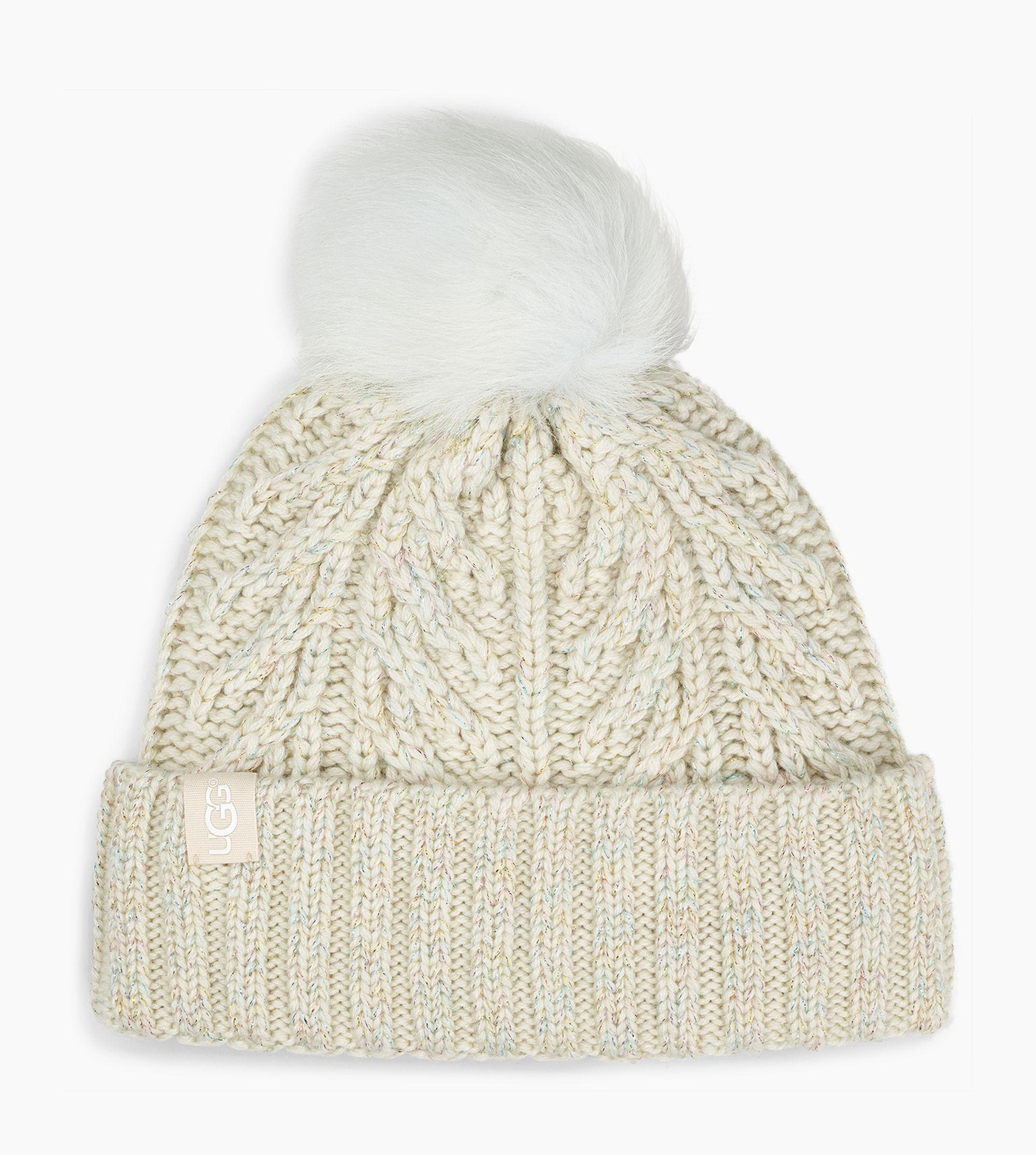 69e4a5226849f Lyst - UGG Cable Pom Beanie Cable Pom Beanie in Metallic