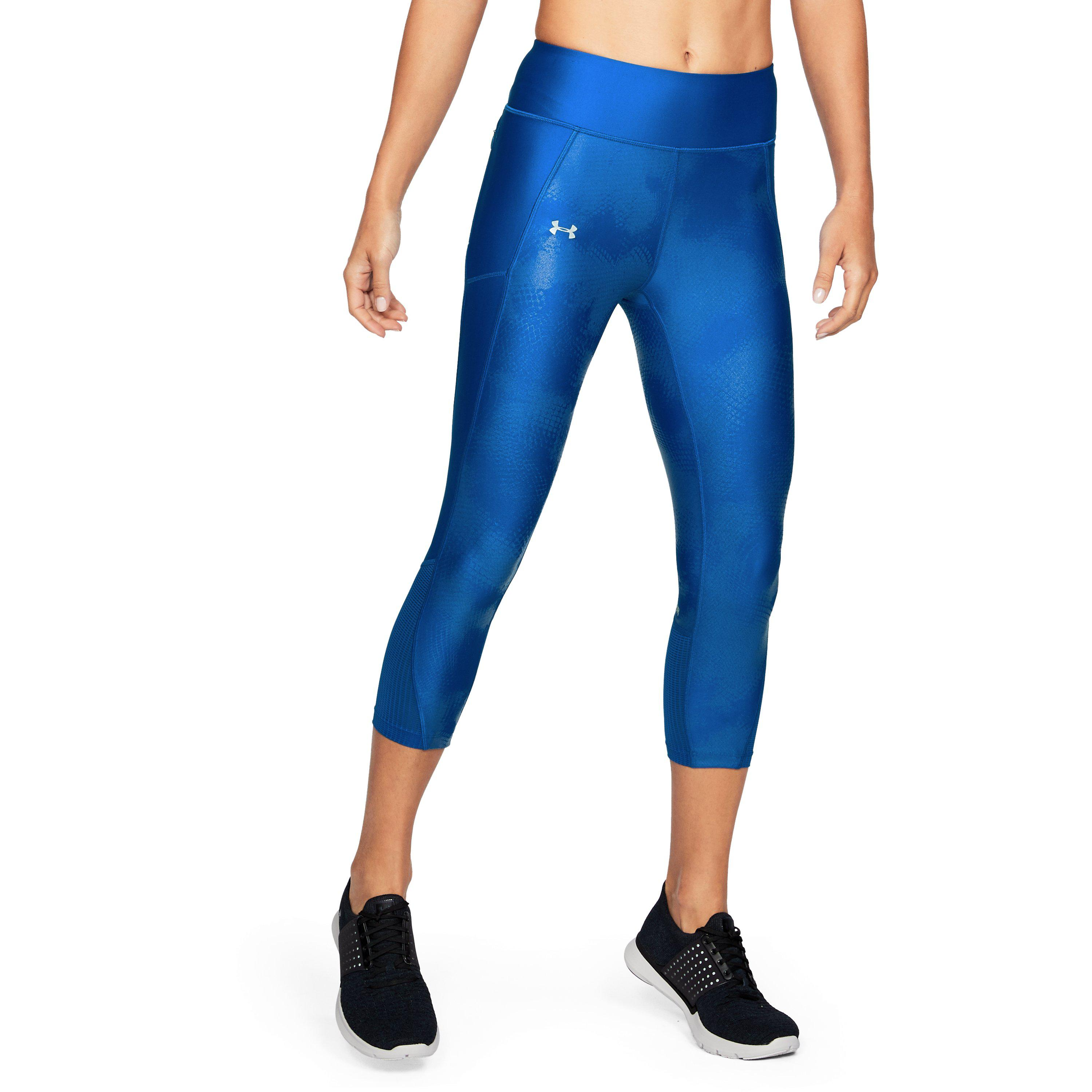 23d17df8c57ccc Under Armour Women's Ua Fly-by Printed Capris in Blue - Lyst