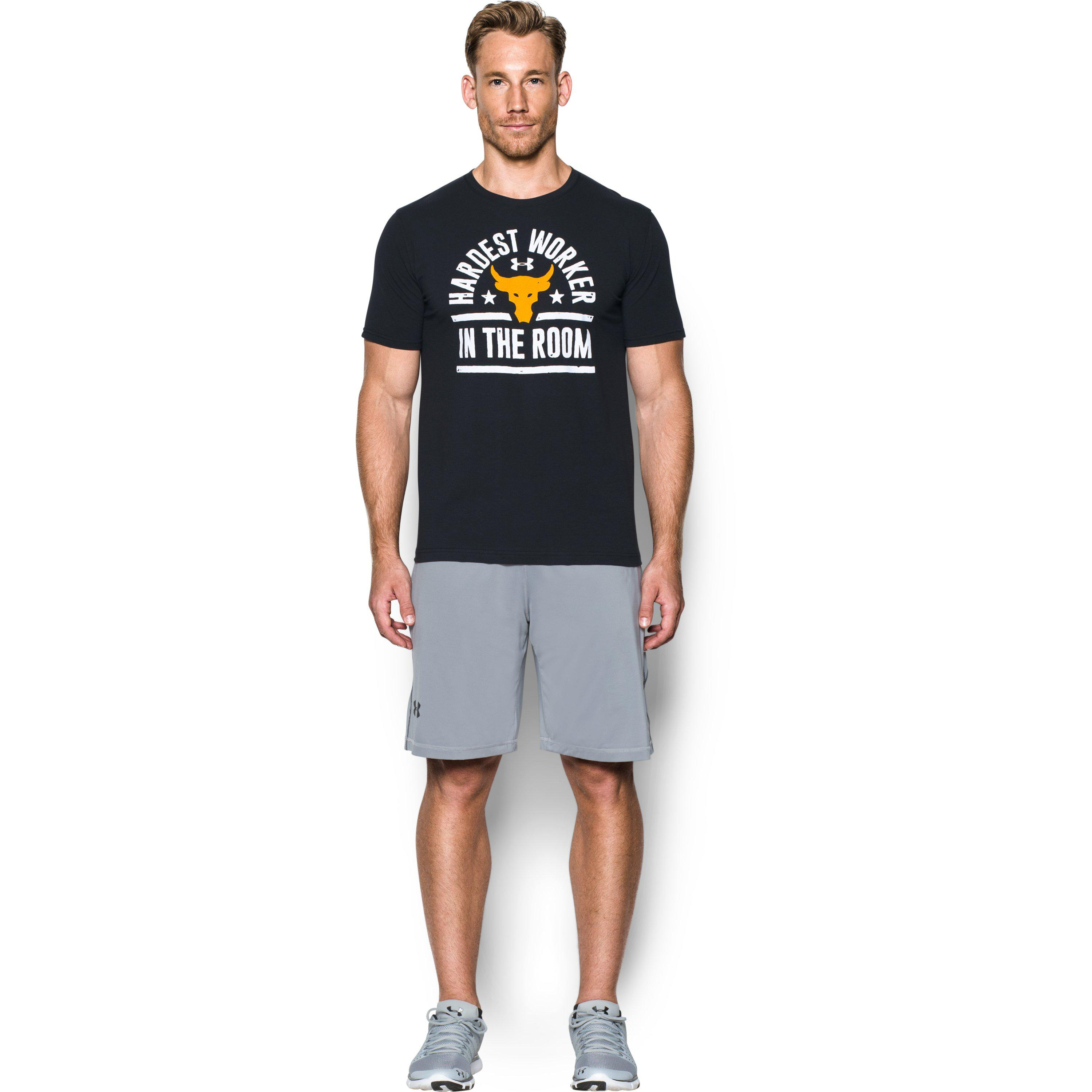 76394e586 Under Armour Men's Ua X Project Rock Hardest Worker T-shirt in Black ...
