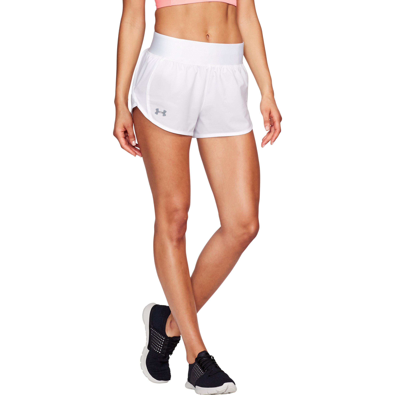Lyst - Under Armour Women s Ua Launch Tulip Speedpocket Shorts in White efc2ca8f1