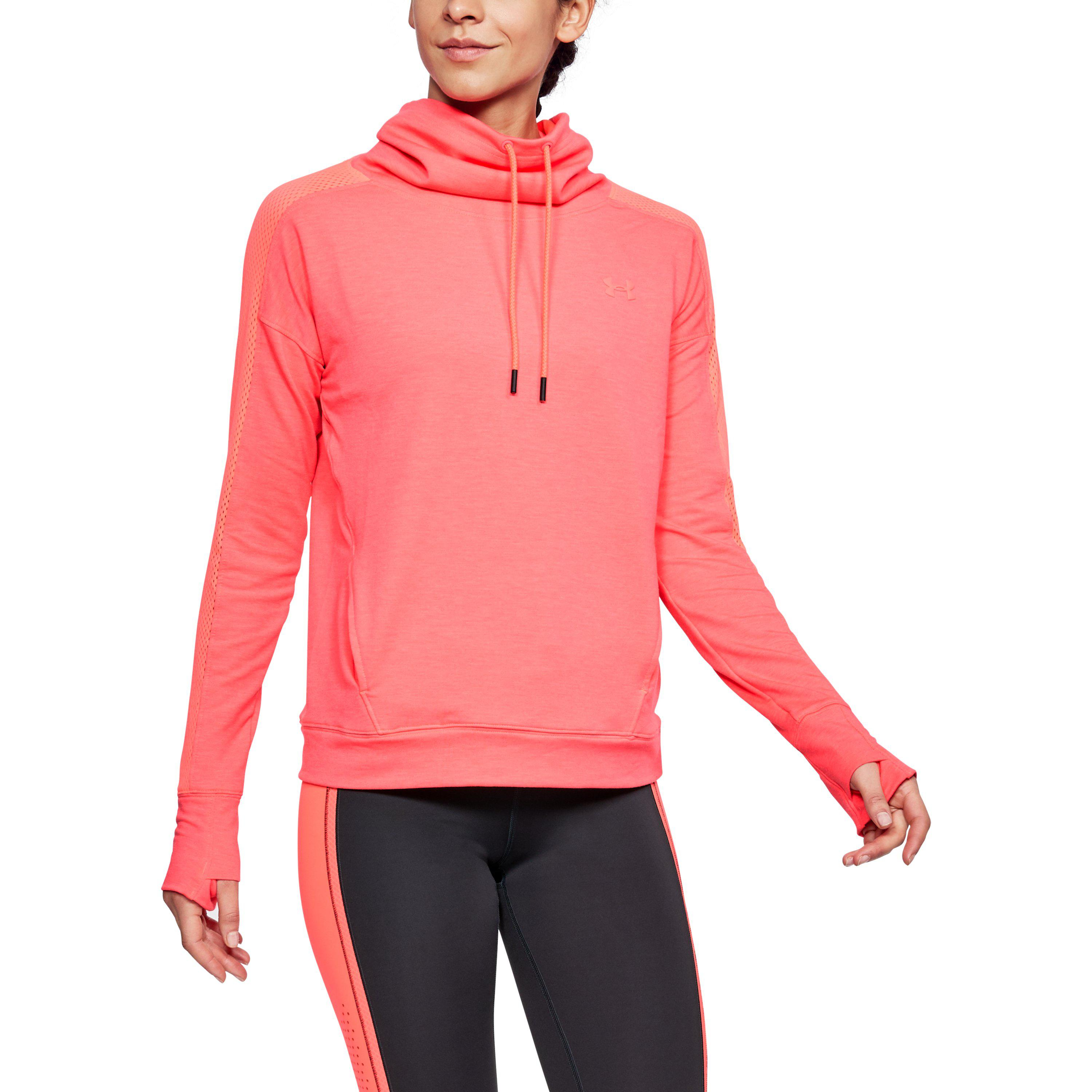 0c42a777f2d3 Lyst - Under Armour Women s Ua Featherweight Fleece Funnel Neck in Pink