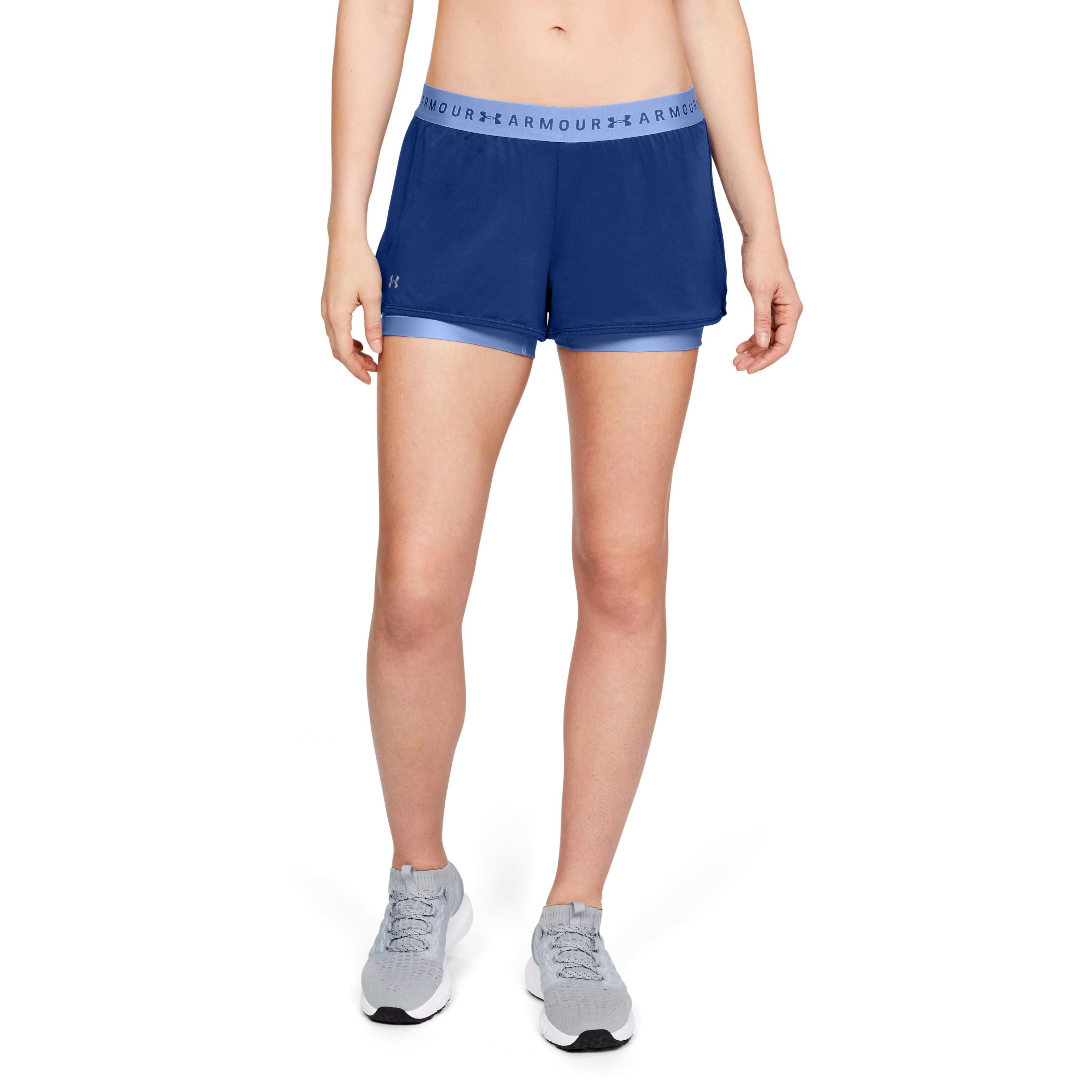 287ddfca77e4a Lyst - Under Armour Women s Heatgear® Armour 2-in-1 Shorts in Blue