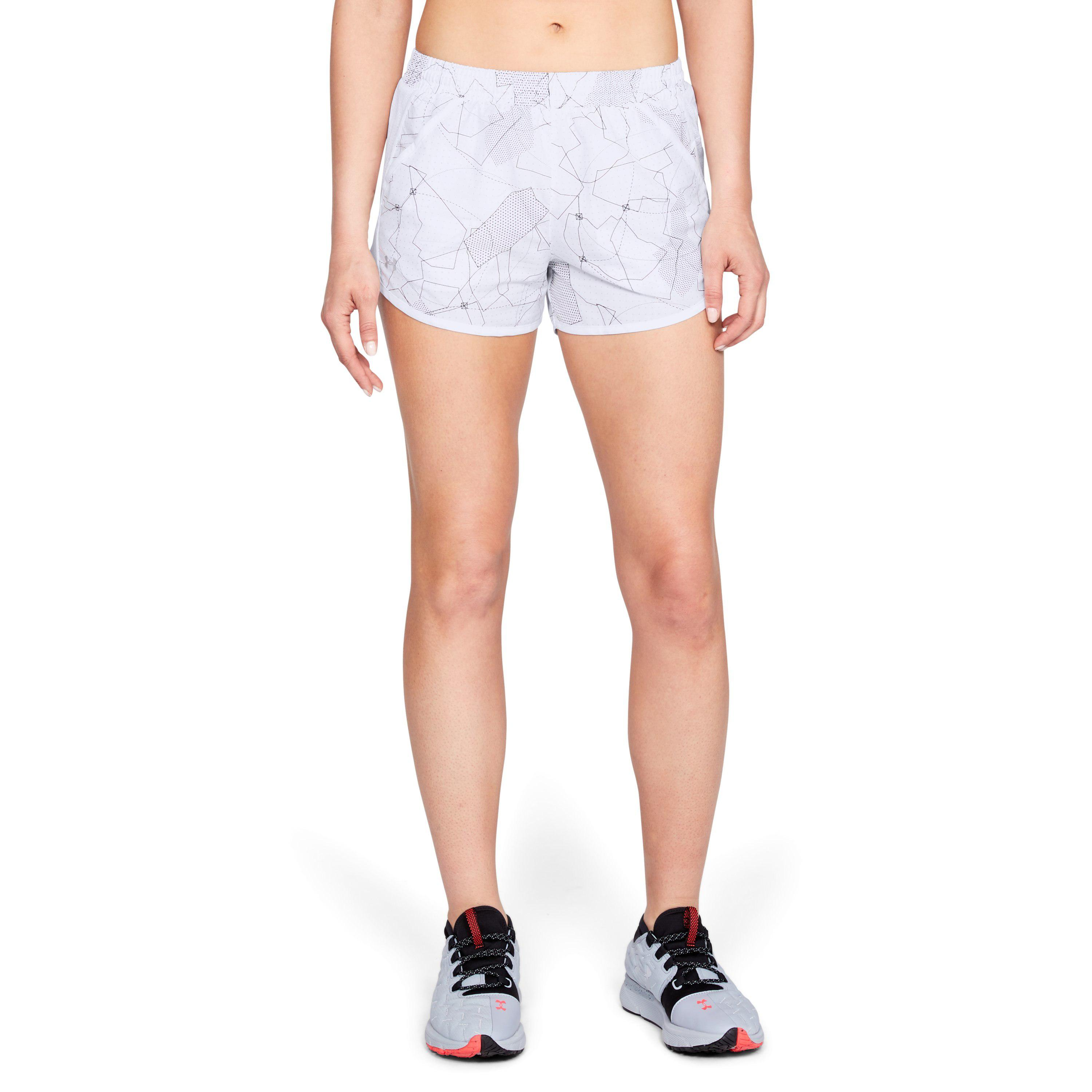 25f82c36cccb Lyst - Under Armour Women s Ua Fly-by Printed Shorts in White