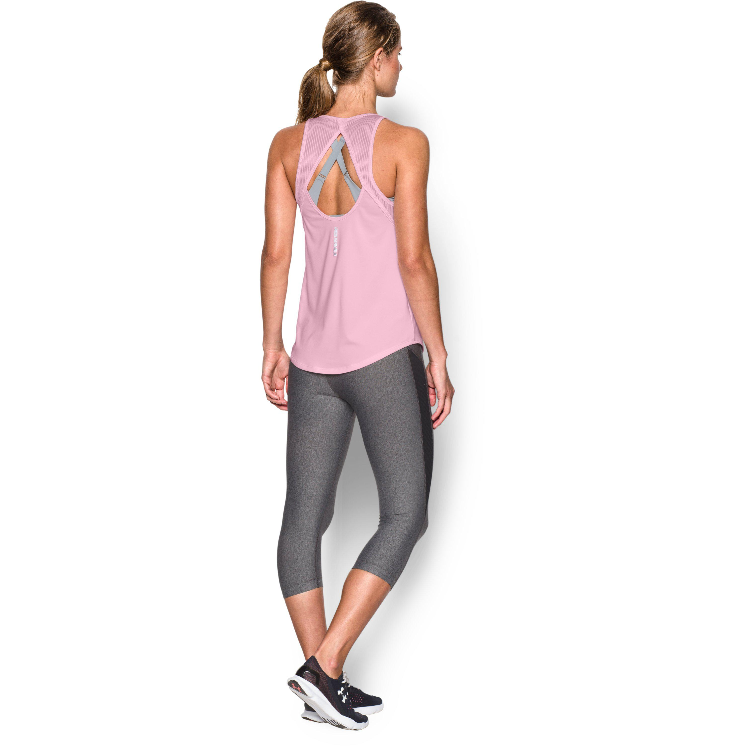 49baca3bbd3ab2 Under Armour Women's Ua Fly-by 2.0 Fitted Tank in Black - Lyst