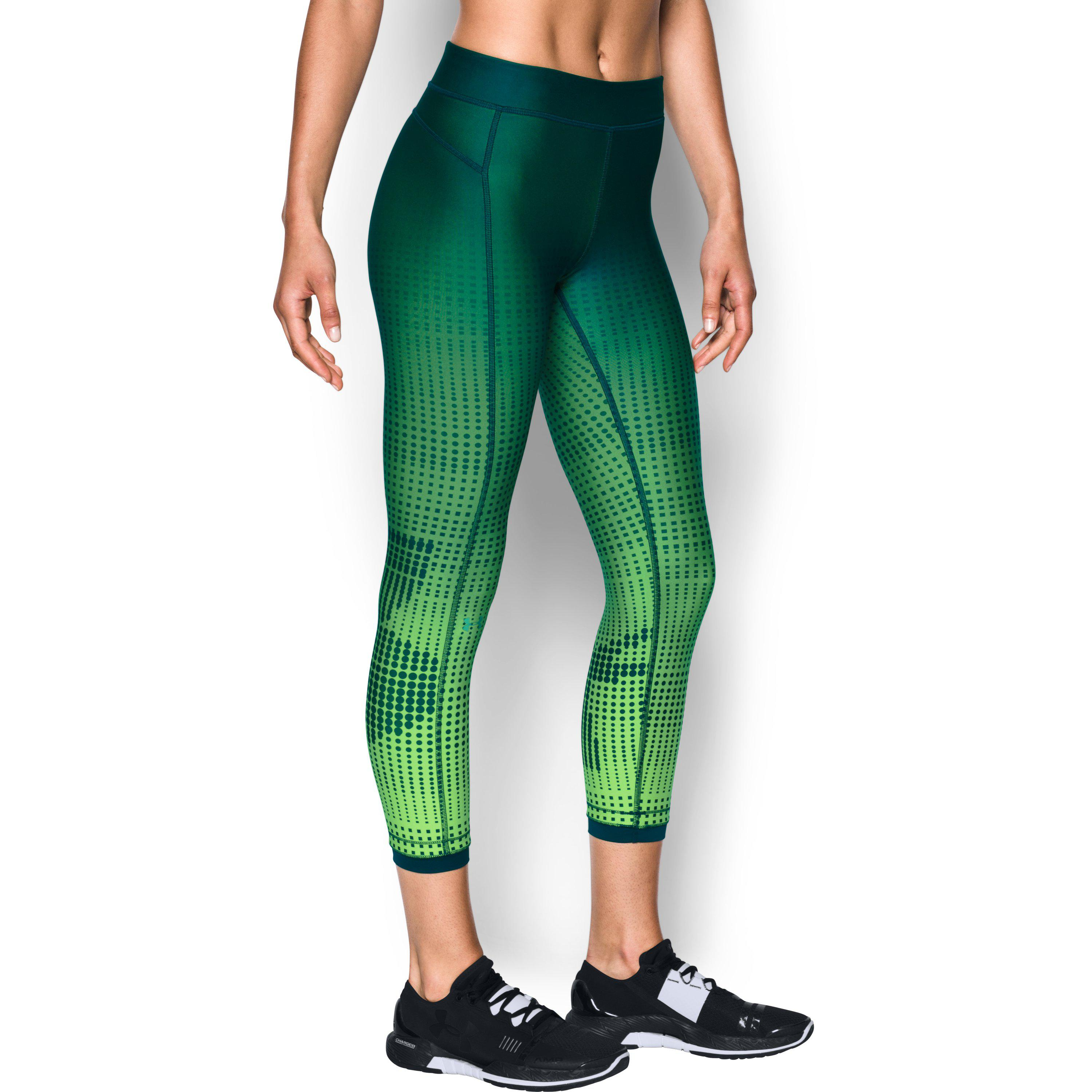 3c34083ef96 Under Armour Women's Heatgear® Armour Graphic Ankle Crop in Green - Lyst