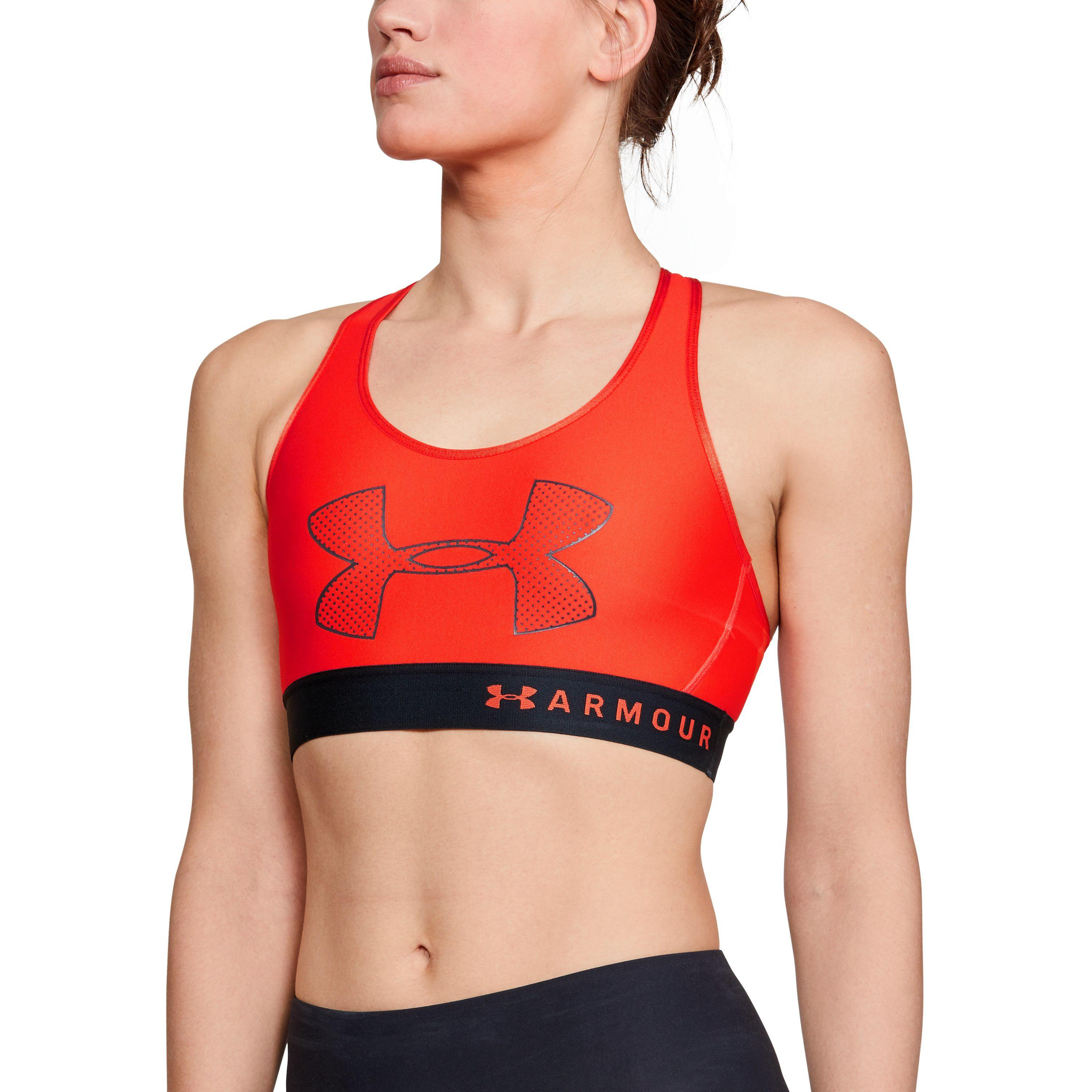 a75552b4367db Lyst - Under Armour Women s Ua Armour Mid Graphic Sports Bra in Red