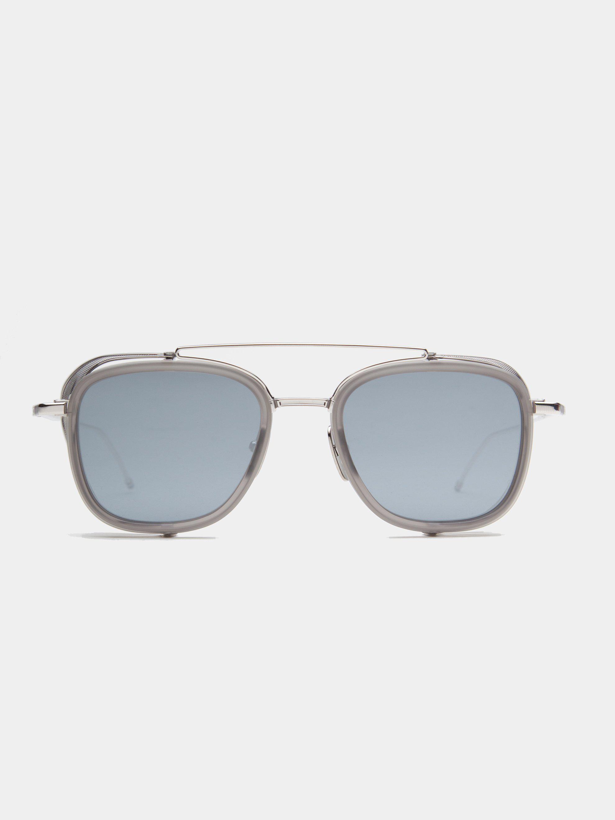 4ba29ba1a94 Lyst - Thom Browne Tb-808 (satin Grey-silver dark Grey-silver Mirror ...