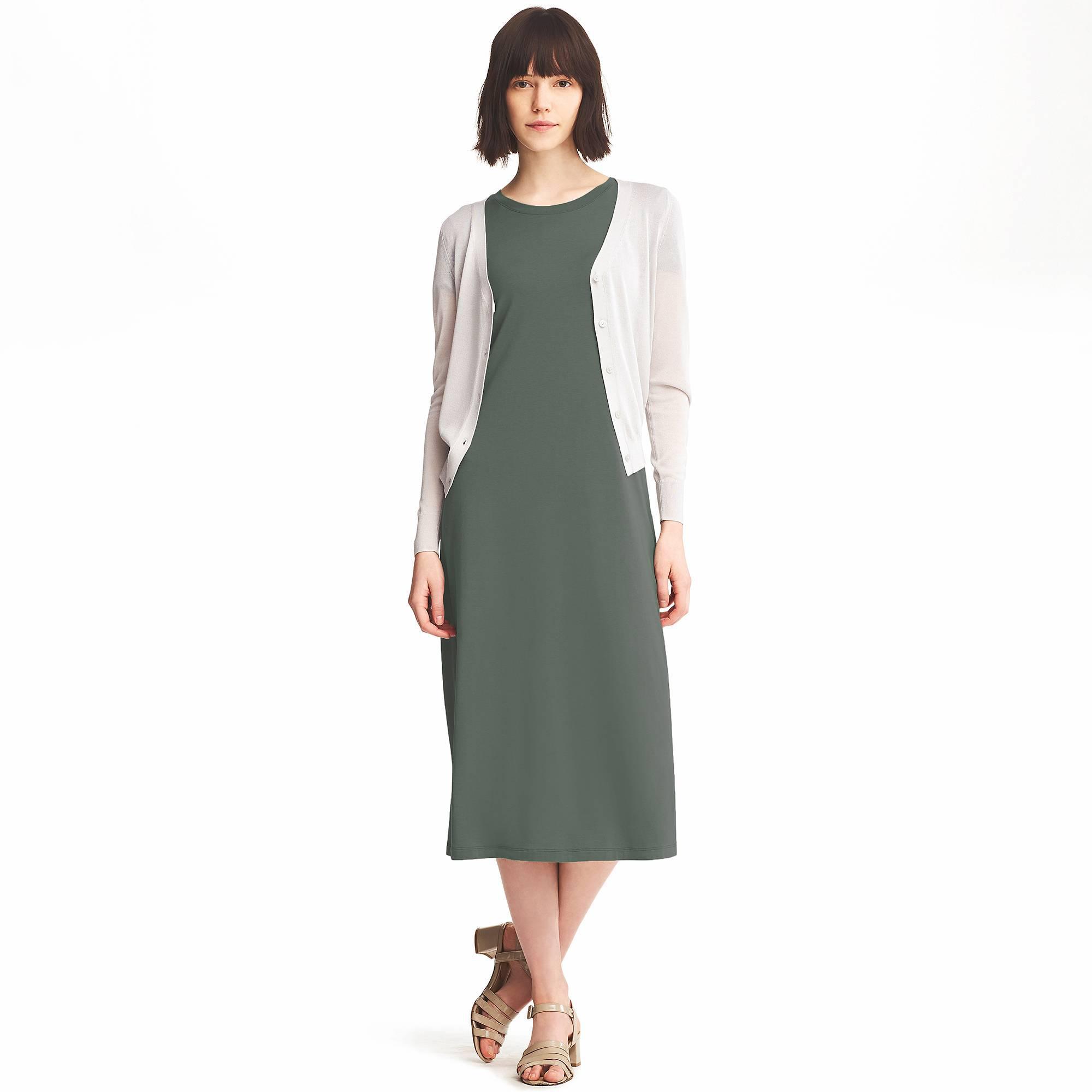 8f8f0b75f0359 Lyst - Uniqlo Short Sleeve Maxi Bra Dress in Green