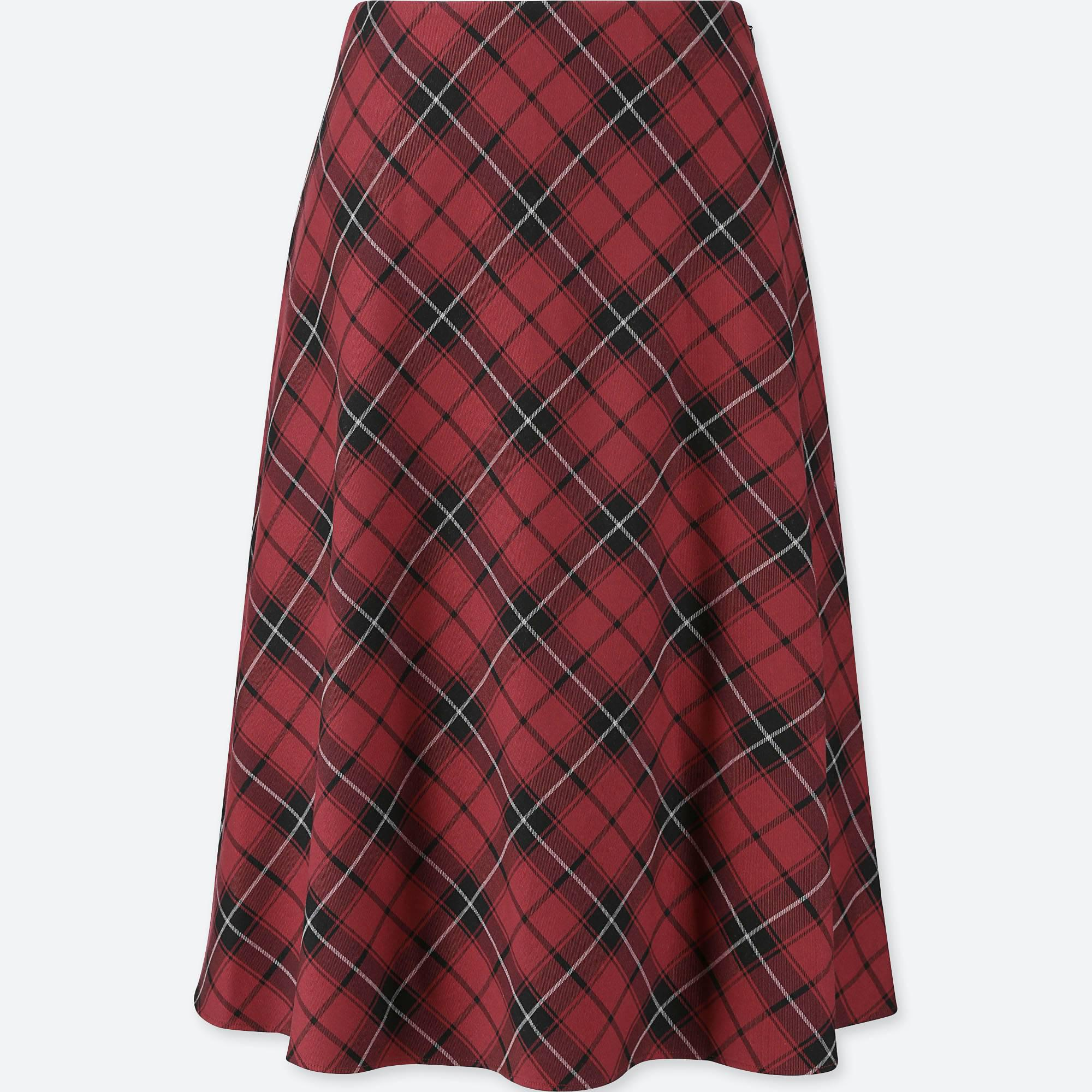 cdb87a99af Lyst - Uniqlo Women Checked Flared High-waisted Skirt in Red