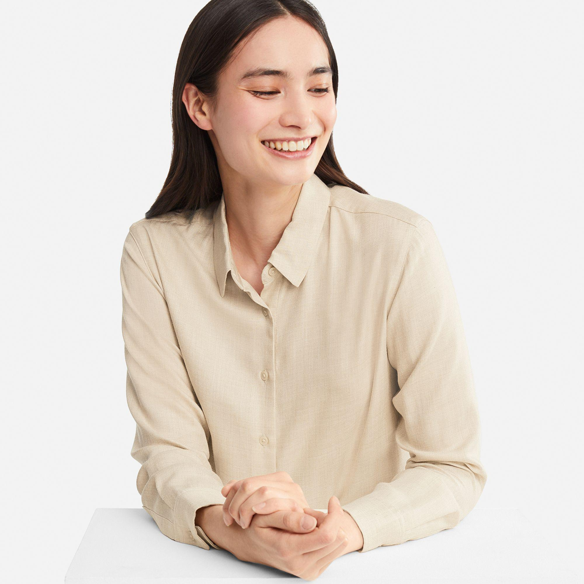 0e77bcd0d40e88 Uniqlo Women Rayon Long-sleeve Blouse in Natural - Save ...