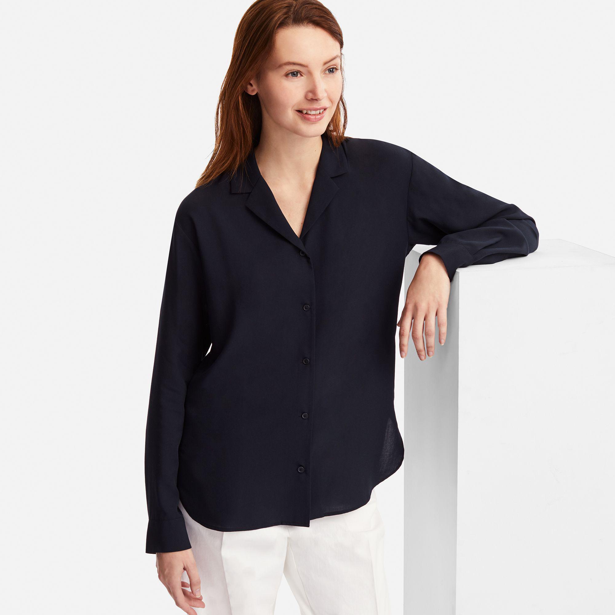 c29fa4999cabc Uniqlo Women Rayon Open Collar Long-sleeve Blouse in Blue - Lyst