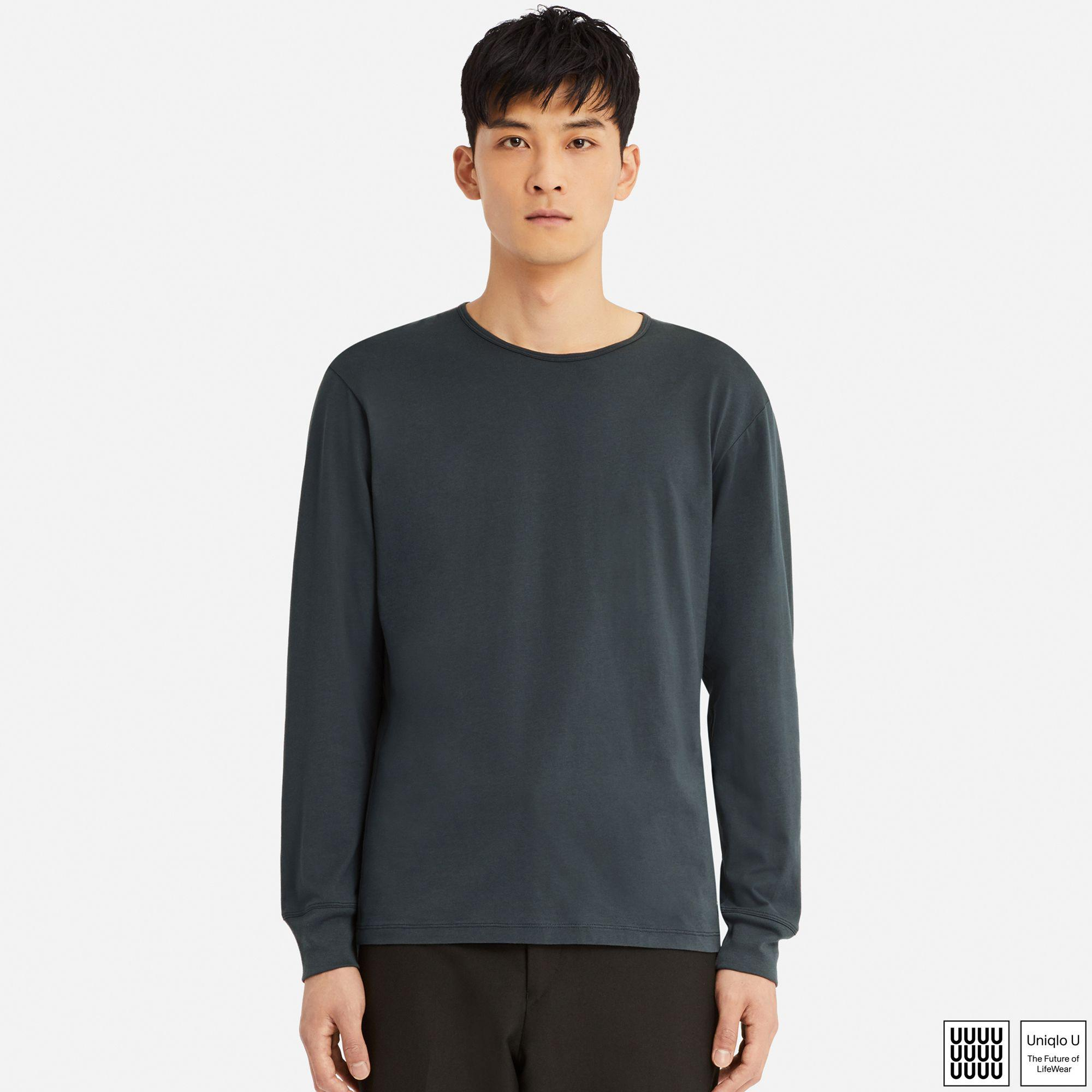 3d4a251c717 Uniqlo U Supima Cotton Crew Neck Long Sleeved T-shirt in Gray for ...