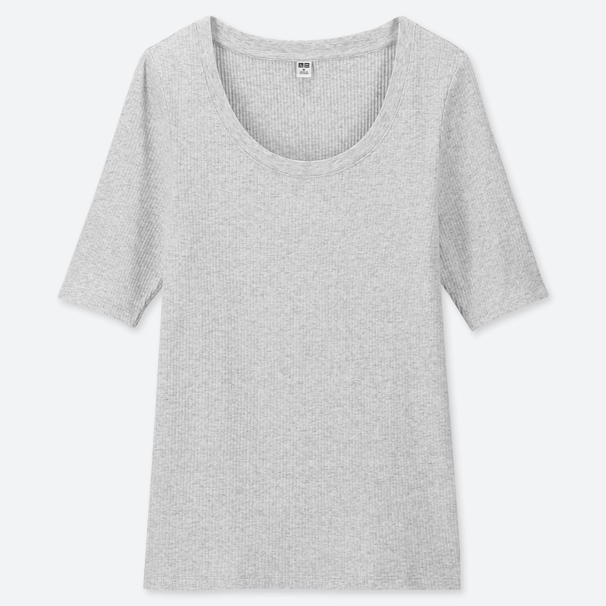 4e13264dbf72e Lyst - Uniqlo Women Ribbed U-neck Half-sleeve T-shirt in Gray