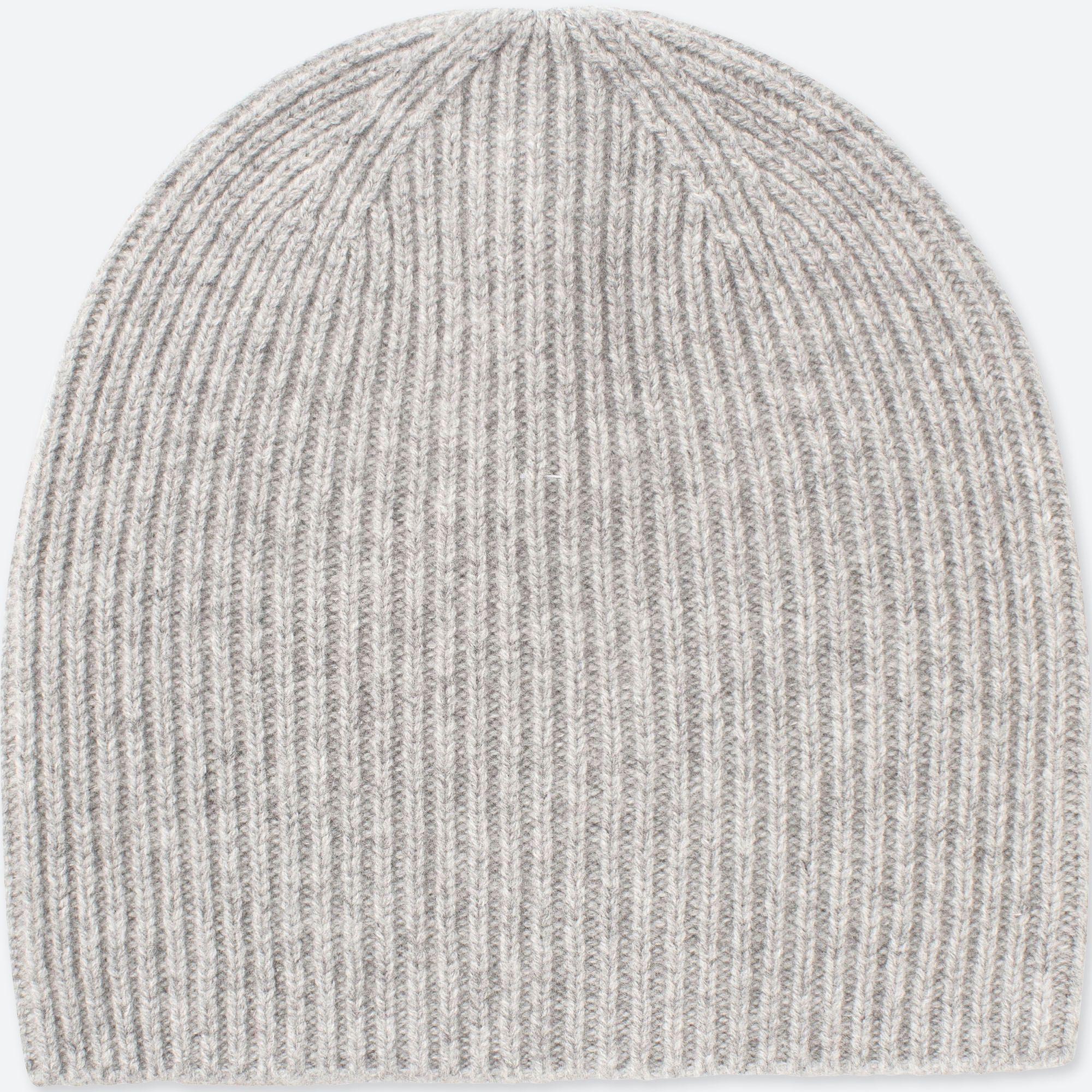 Uniqlo Cashmere Knitted Beanie Hat in Gray - Lyst 20969dcaf67a