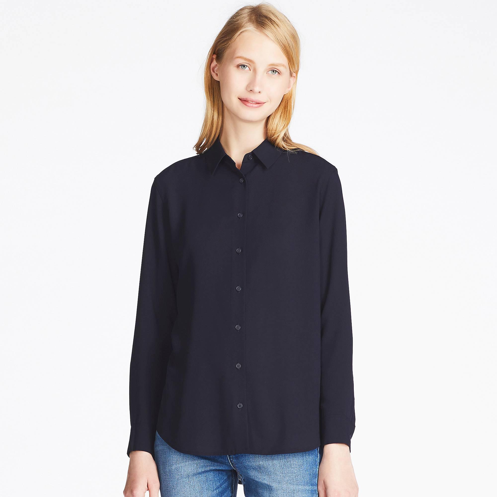 f18798005d Lyst - Uniqlo Women Rayon Long-sleeve Blouse in Blue