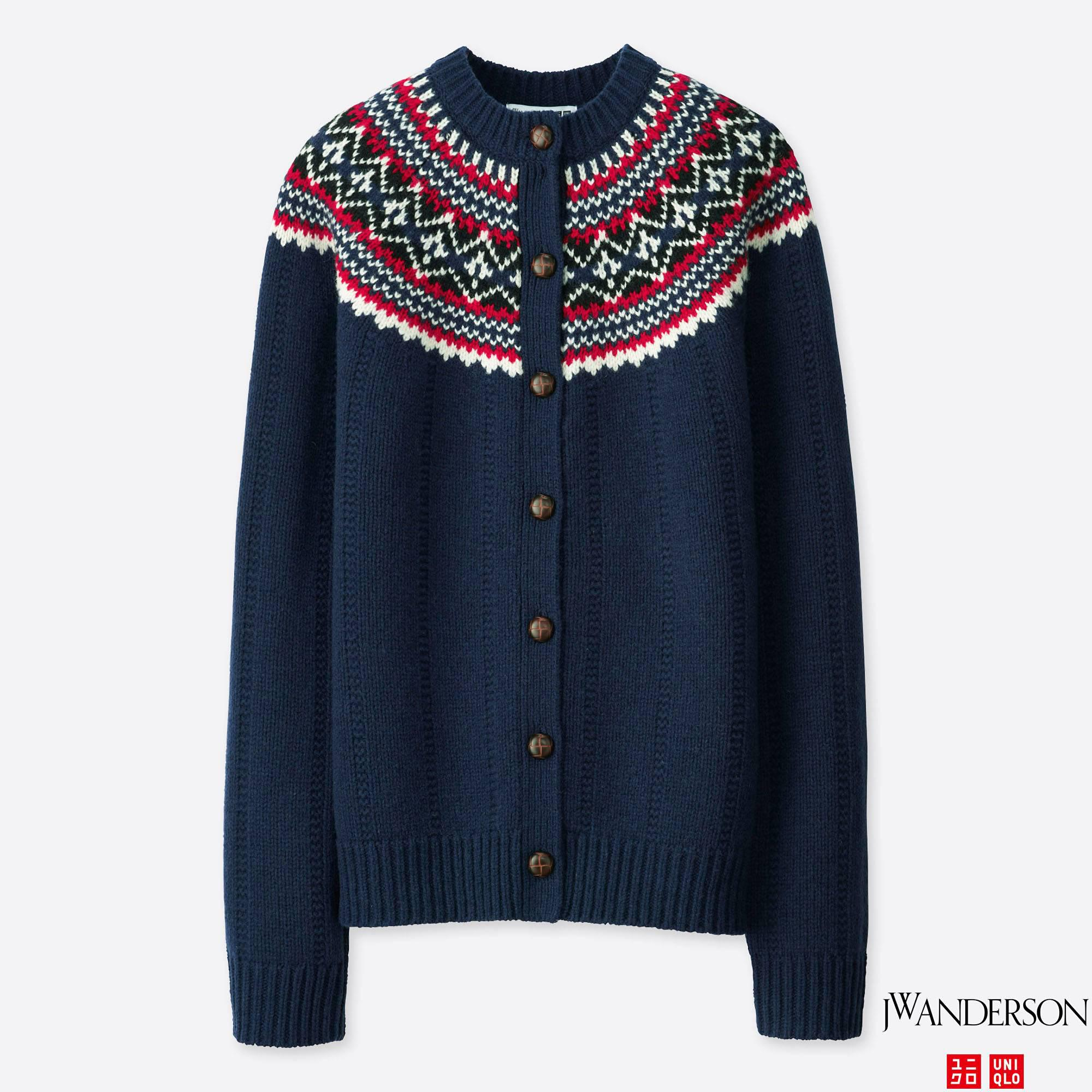 Uniqlo Women Jwa Fair Isle Crewneck Cardigan in Blue | Lyst