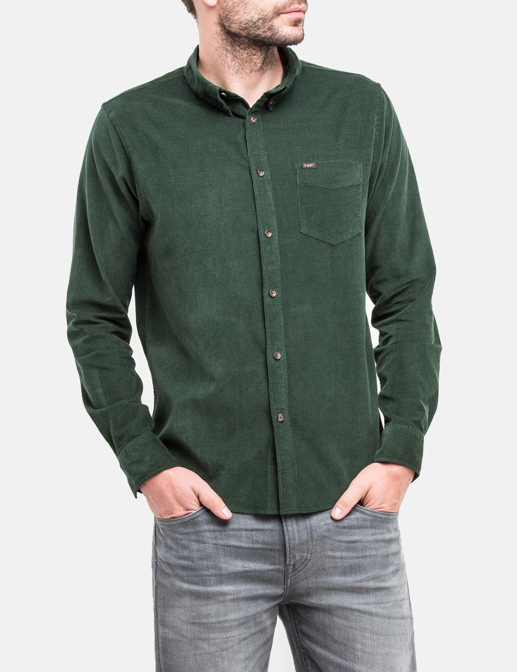Lyst lee jeans button down shirt micro cord in green for Denim button down shirts