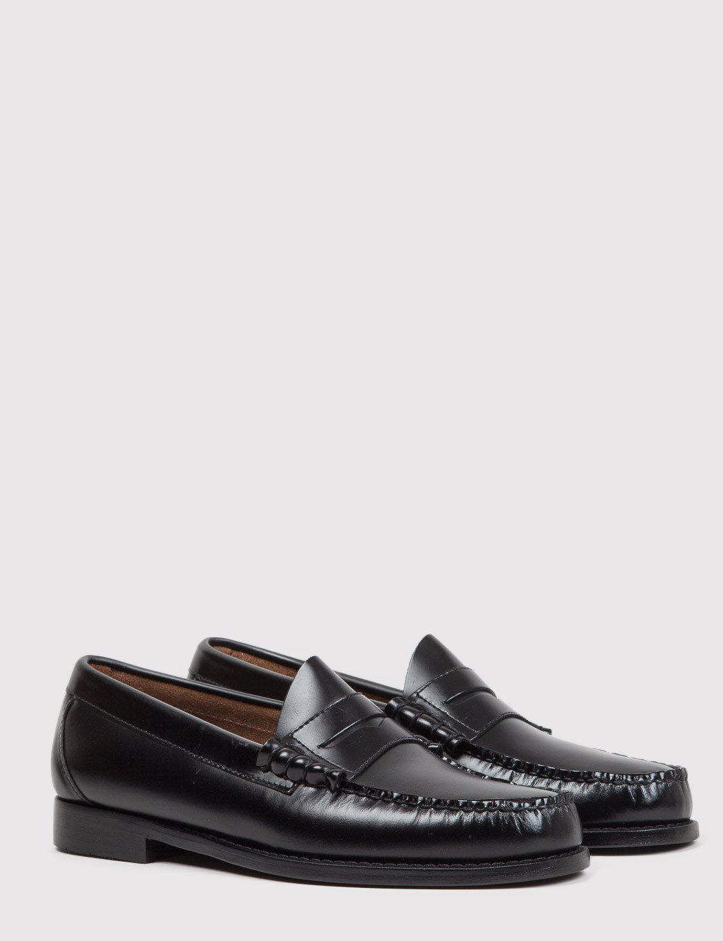 G.H.BASS Leather Bass Weejun Larson Penny Loafers in Black ...