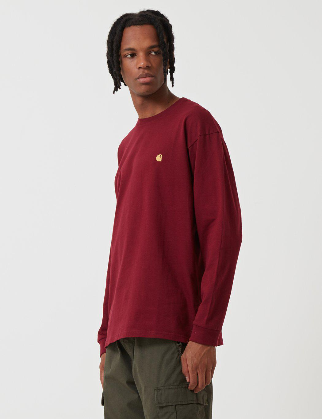 6aa78bdc7 Carhartt Chase Long Sleeve T-shirt in Red for Men - Lyst