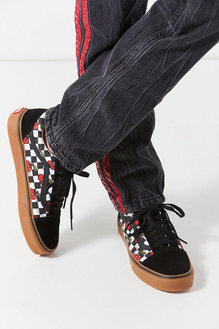 d7e89159f9001 Lyst - Vans Vans Cherry Checkerboard Old Skool Sneaker in Black