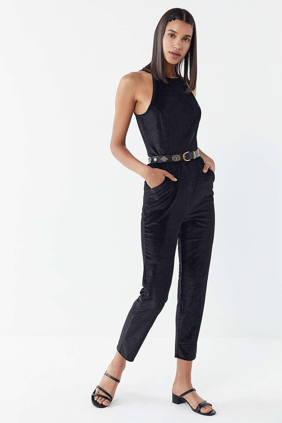 028e80e8018 Lyst - Urban Outfitters Uo Naomi Velvet Jumpsuit in Black