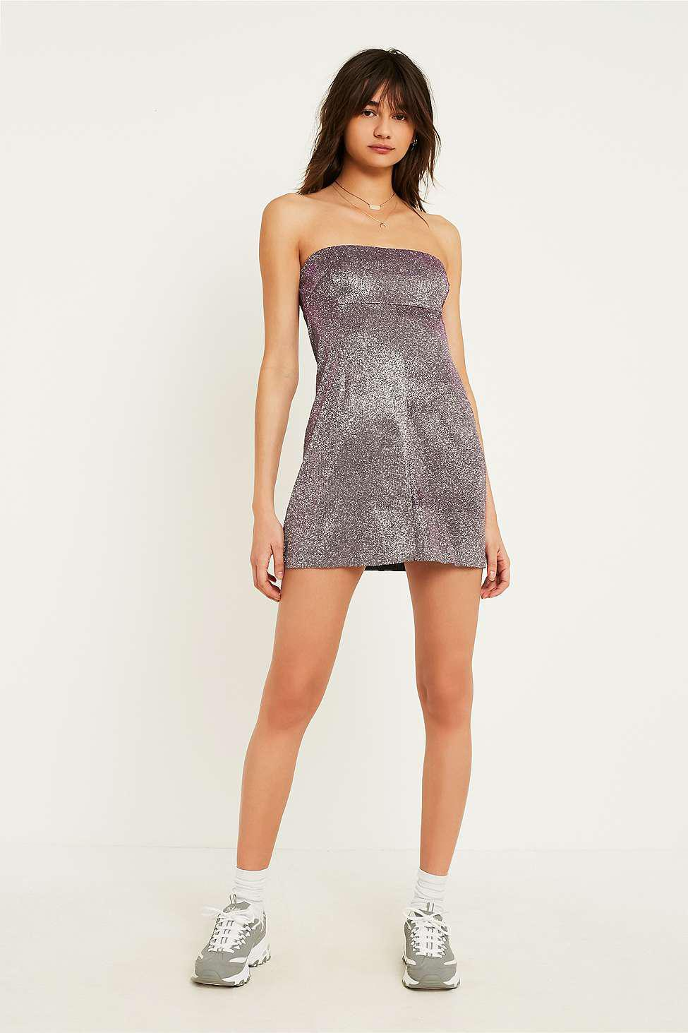166c5bc8b8 Urban Outfitters Uo Moonbeam Metallic Tube Top Dress - Womens M in ...