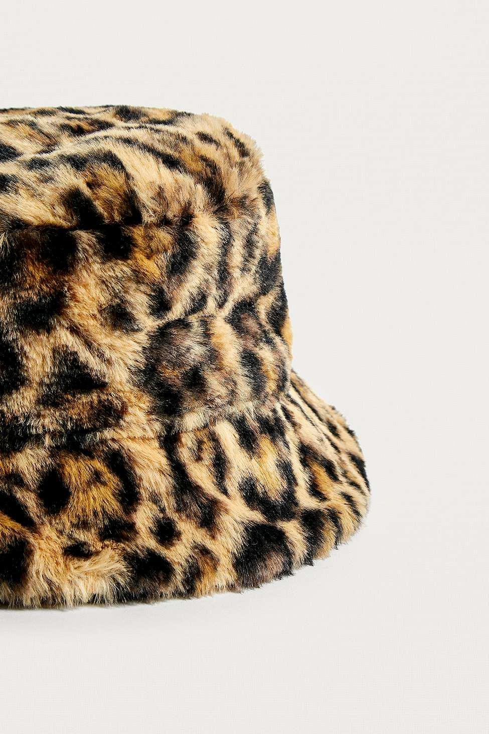 bd76d7985d8d5 Urban Outfitters Uo Reversible Leopard Print Faux Fur Bucket Hat ...
