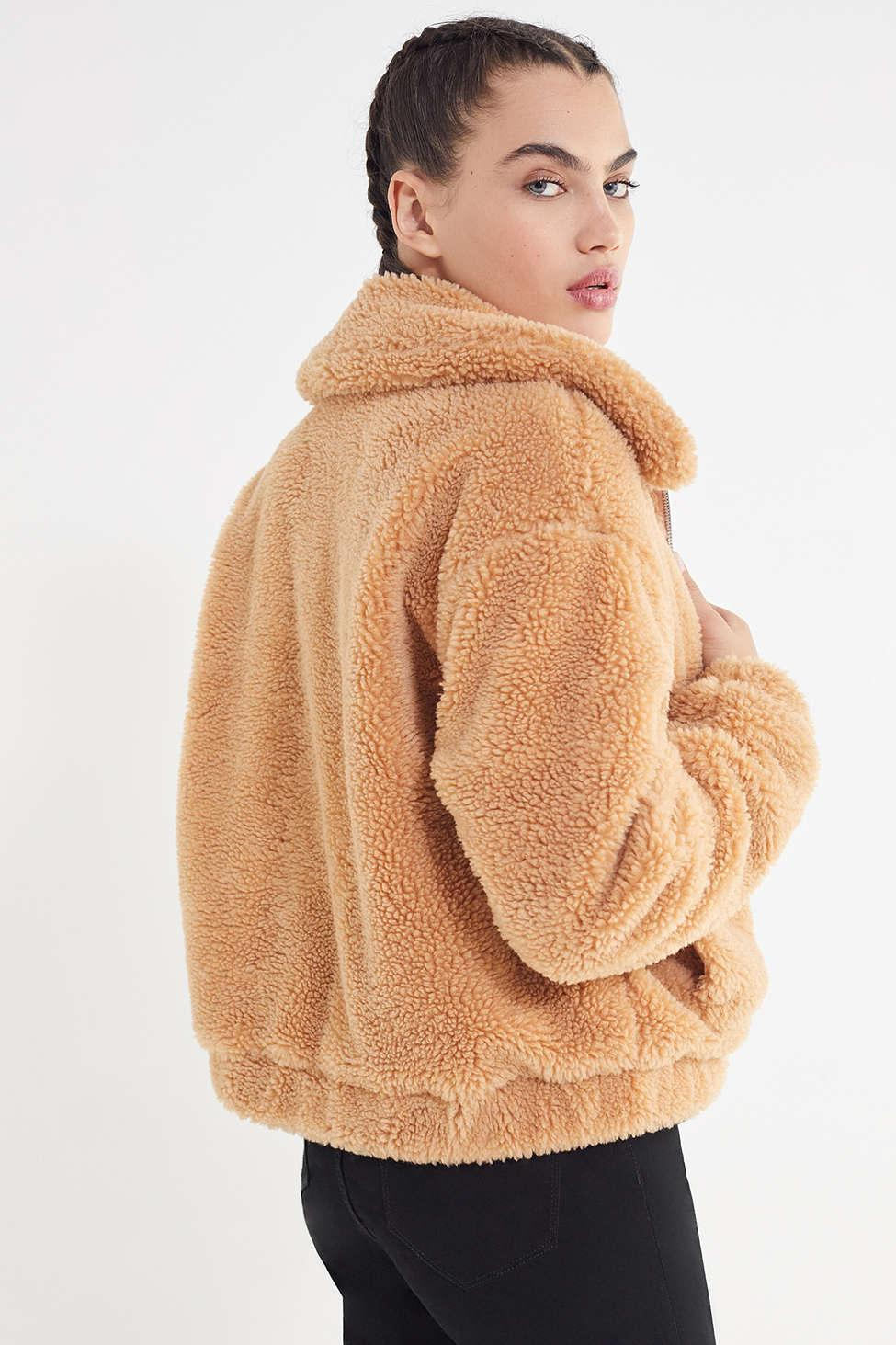 Lyst Urban Outfitters Uo Cropped Teddy Jacket In Natural