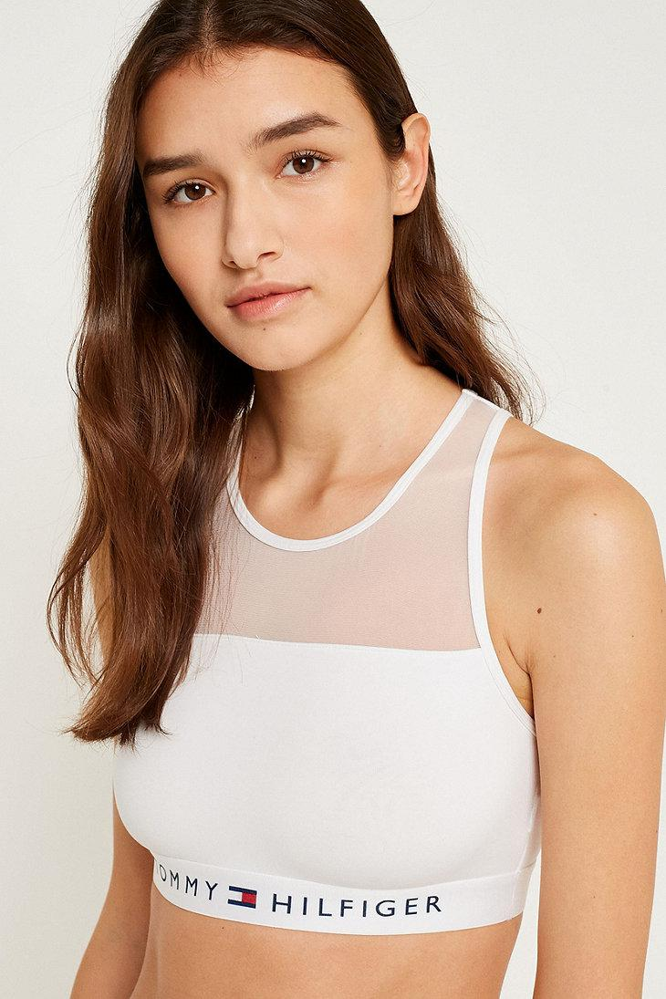 0c0766e0a9e Tommy Hilfiger Sheer Crop Bralette in White - Lyst