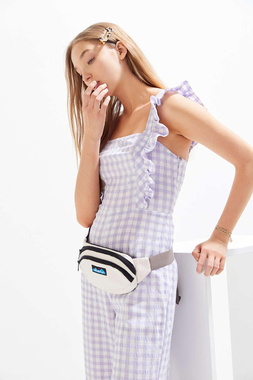 c71e88ca236d Lyst - Urban Outfitters Uo Emerson Gingham Ruffle Jumpsuit in Purple