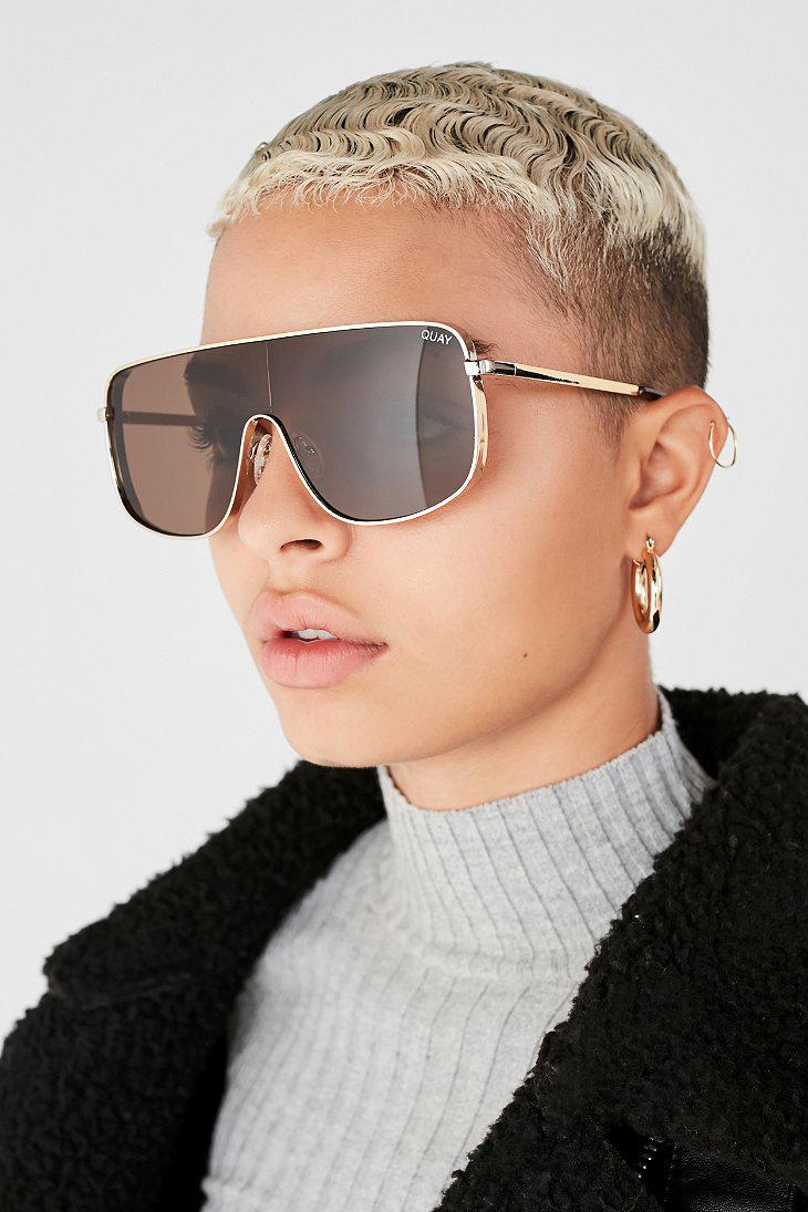 f026e97aad Quay  xkylie Unbothered Shield Sunglasses in Metallic - Lyst