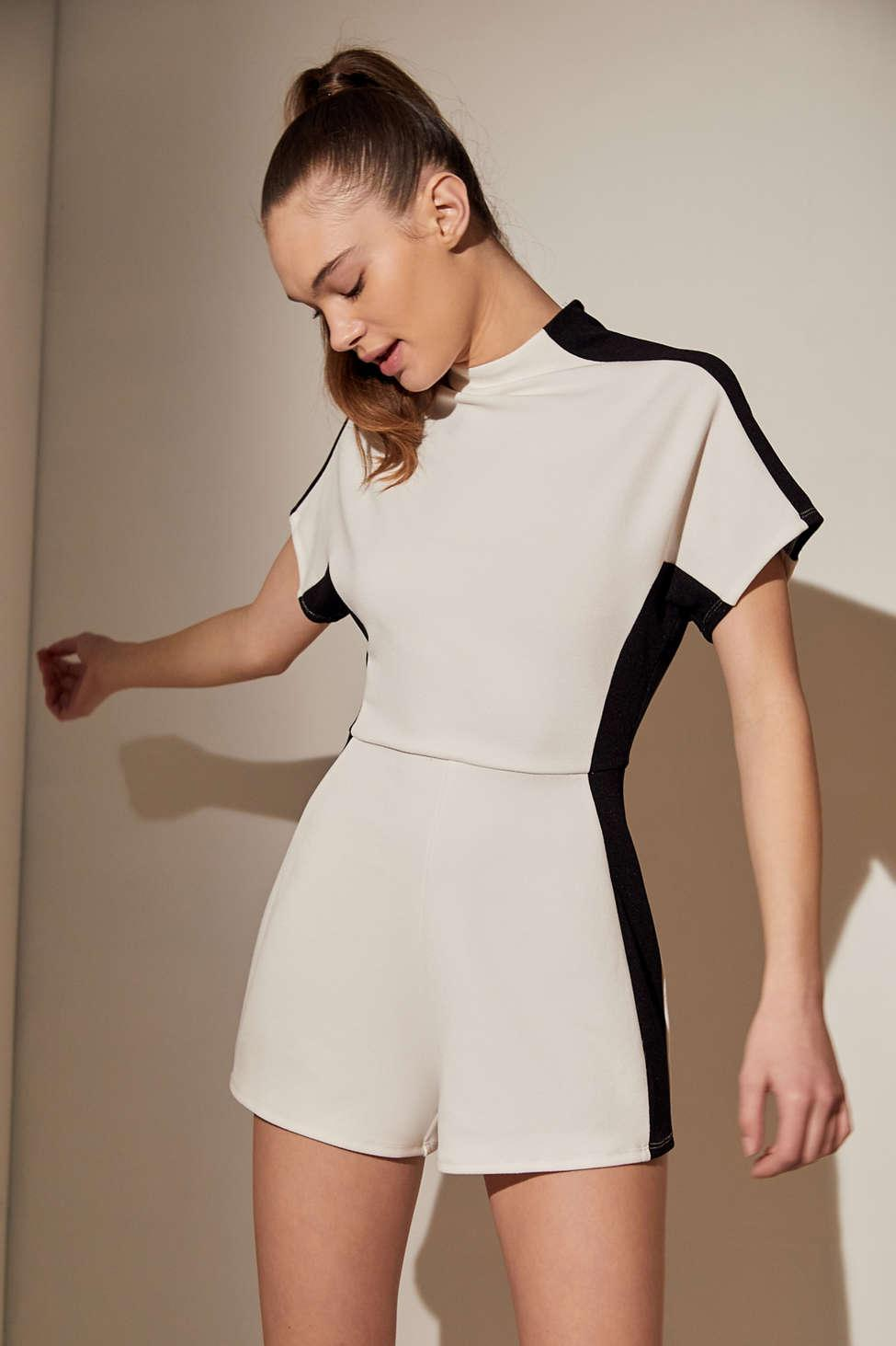 6b97dd04206 Urban Outfitters. Women s Black Uo Modern Illusion Colorblock Mock Neck  Romper