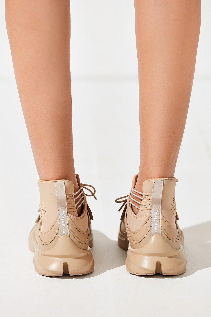 Lyst - PUMA Fenty By Rihanna Trainer Hi Leather Sneaker in Natural c1485a172fbbf