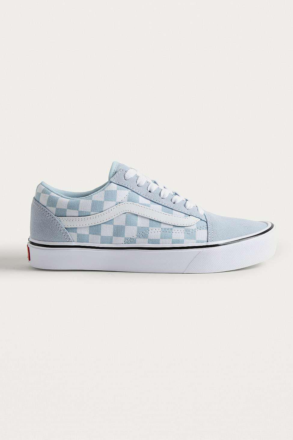 Vans Leather Old Skool Light Blue Checkerboard Trainers Lyst