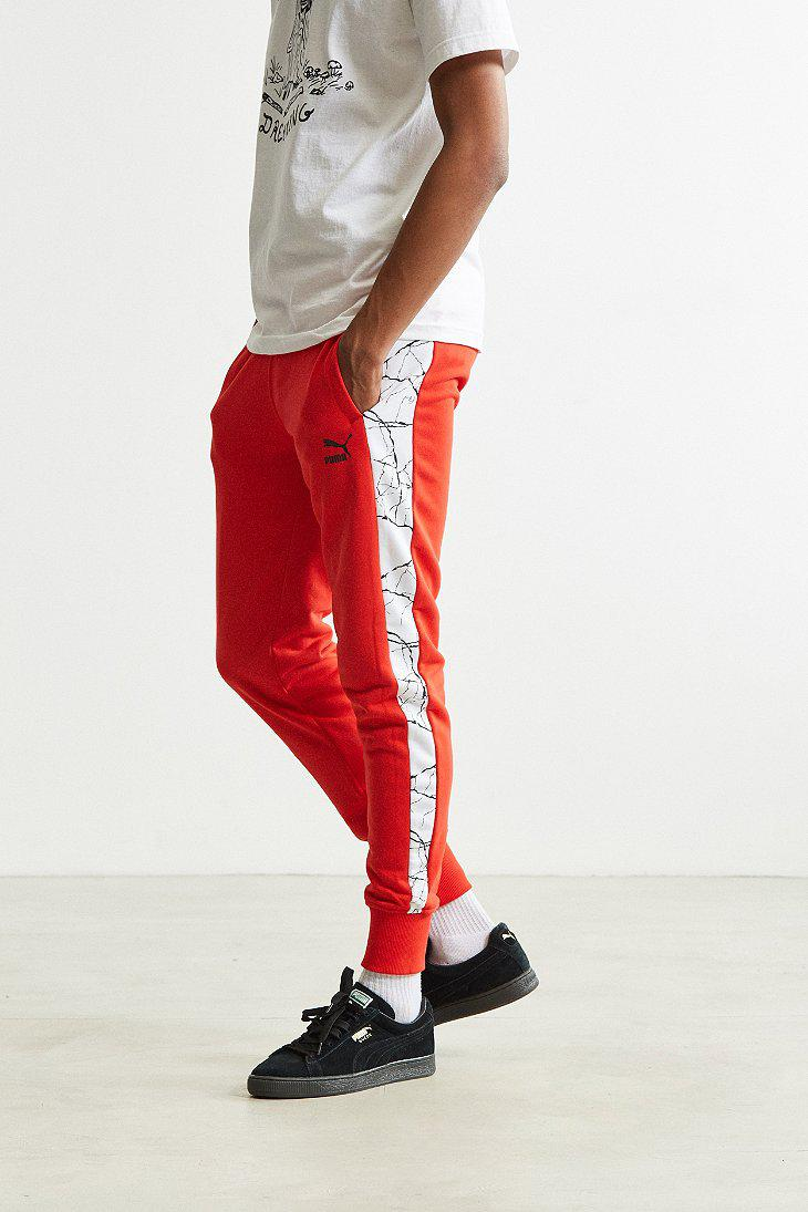 fa4e15a75bc8 Lyst - PUMA Graphic Taped Track Pant in Red for Men