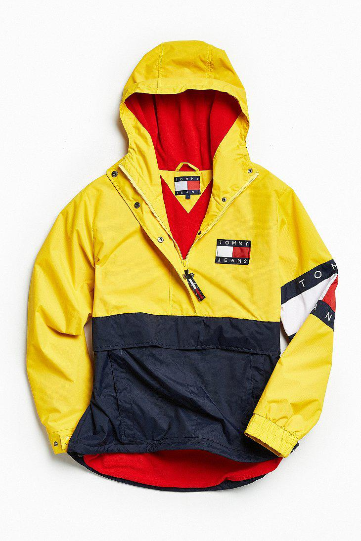 50050338 Tommy Hilfiger Colorblocked Pullover Windbreaker Jacket in Yellow ...