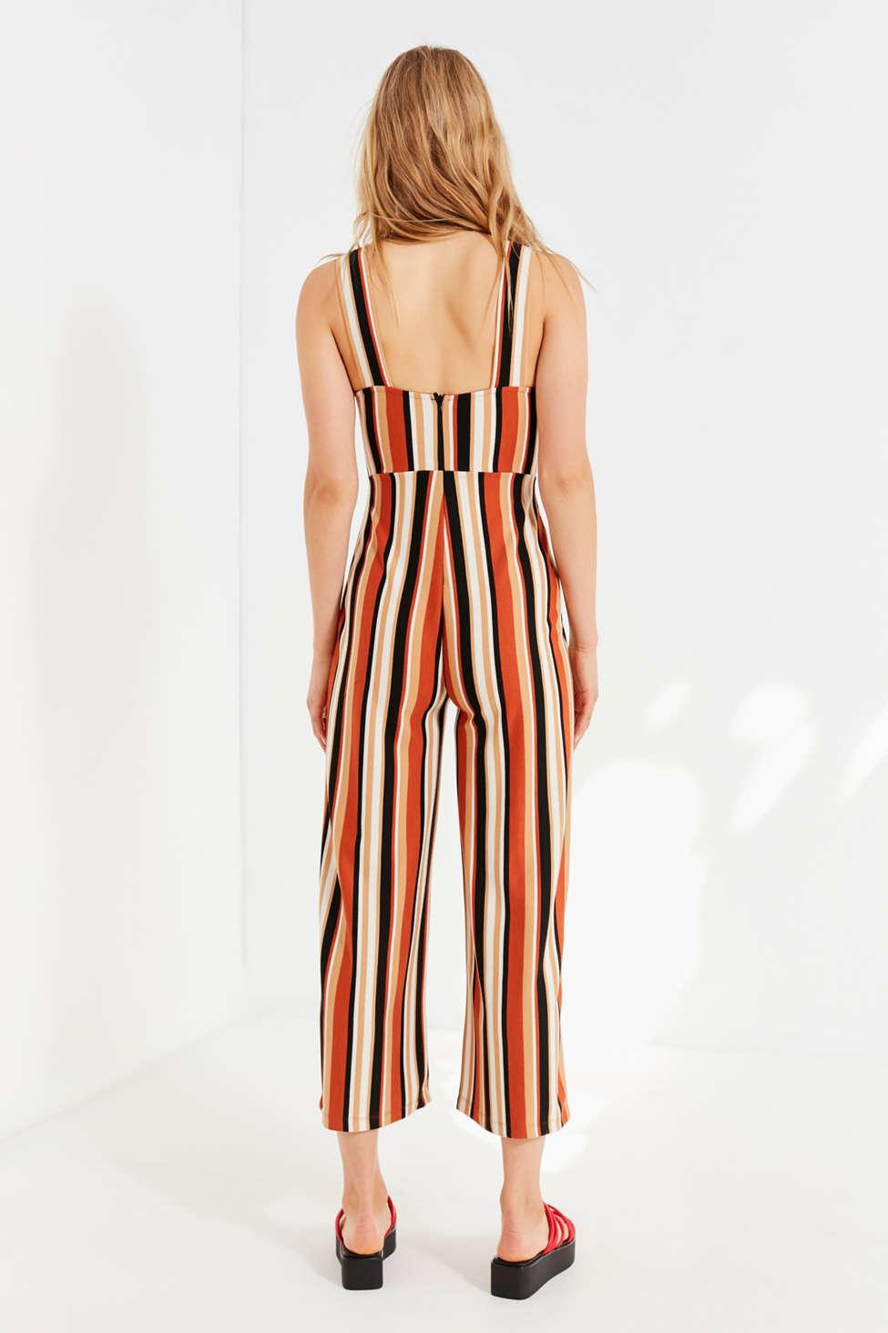 a184f4cd8daa ... Uo Delany Straight-neck Striped Jumpsuit - Lyst. View fullscreen