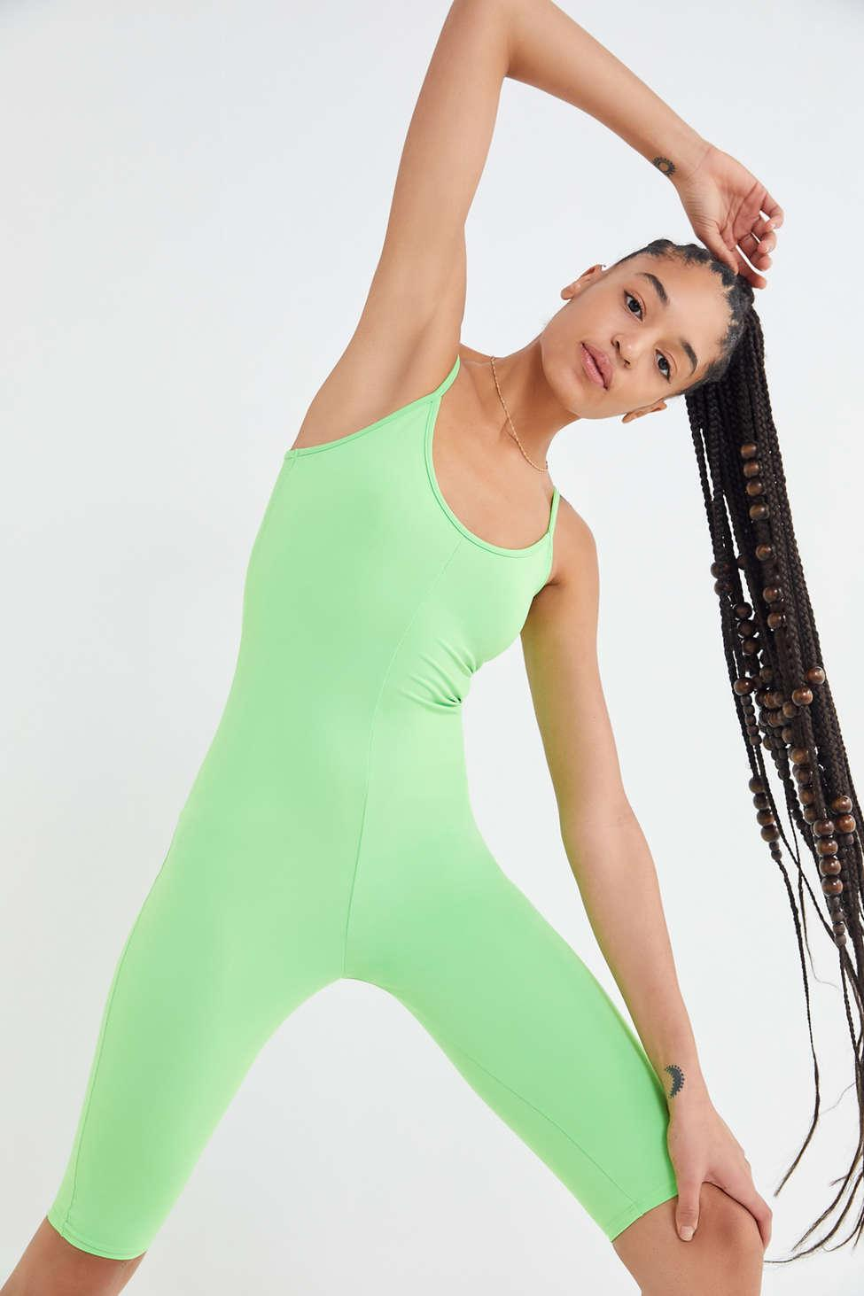 013f909874a4 Lyst - Urban Outfitters Uo Nylon Sleeveless Scoop Neck Romper in Green