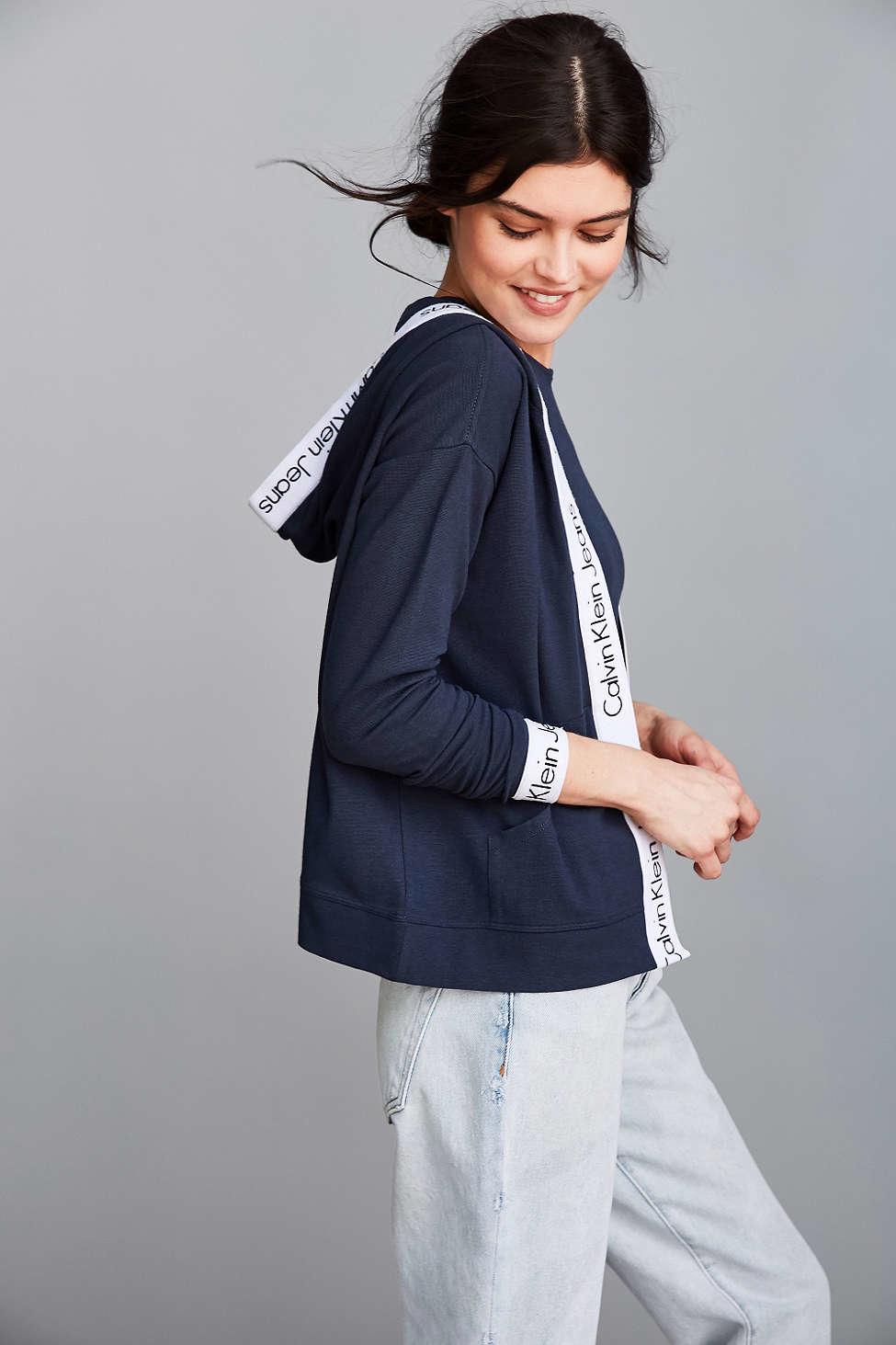 Lyst - Calvin Klein Modern Cropped Hoodie Sweatshirt in White