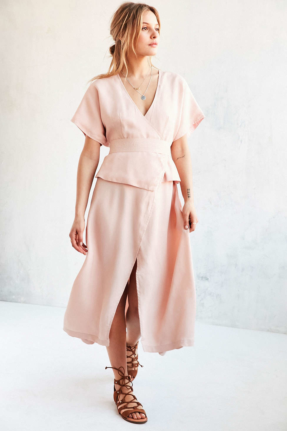 Lyst Shakuhachi Isabelle Kimono Sleeve Wrap Dress In Pink