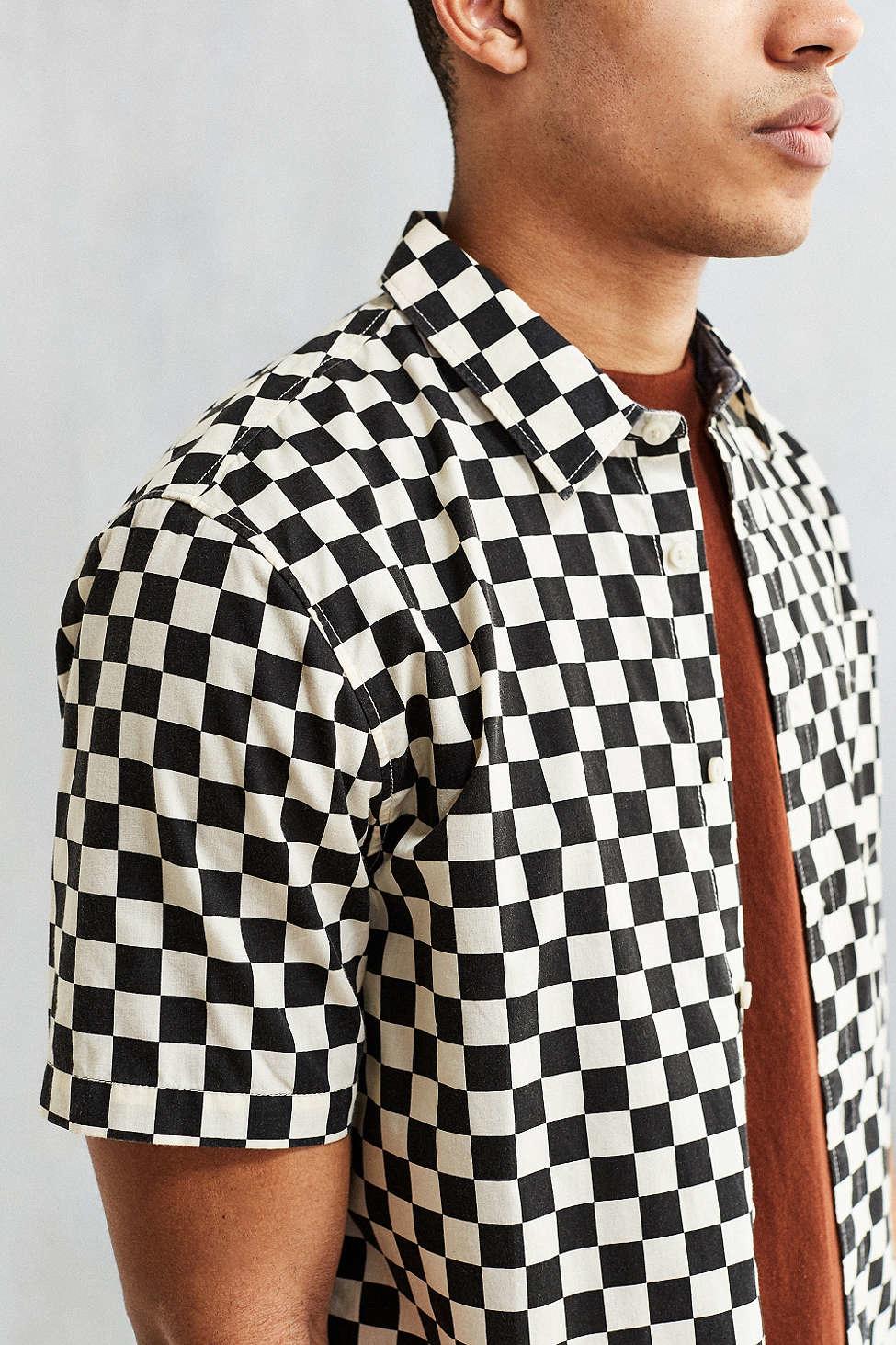 vans checkerboard print shortsleeve buttondown shirt in