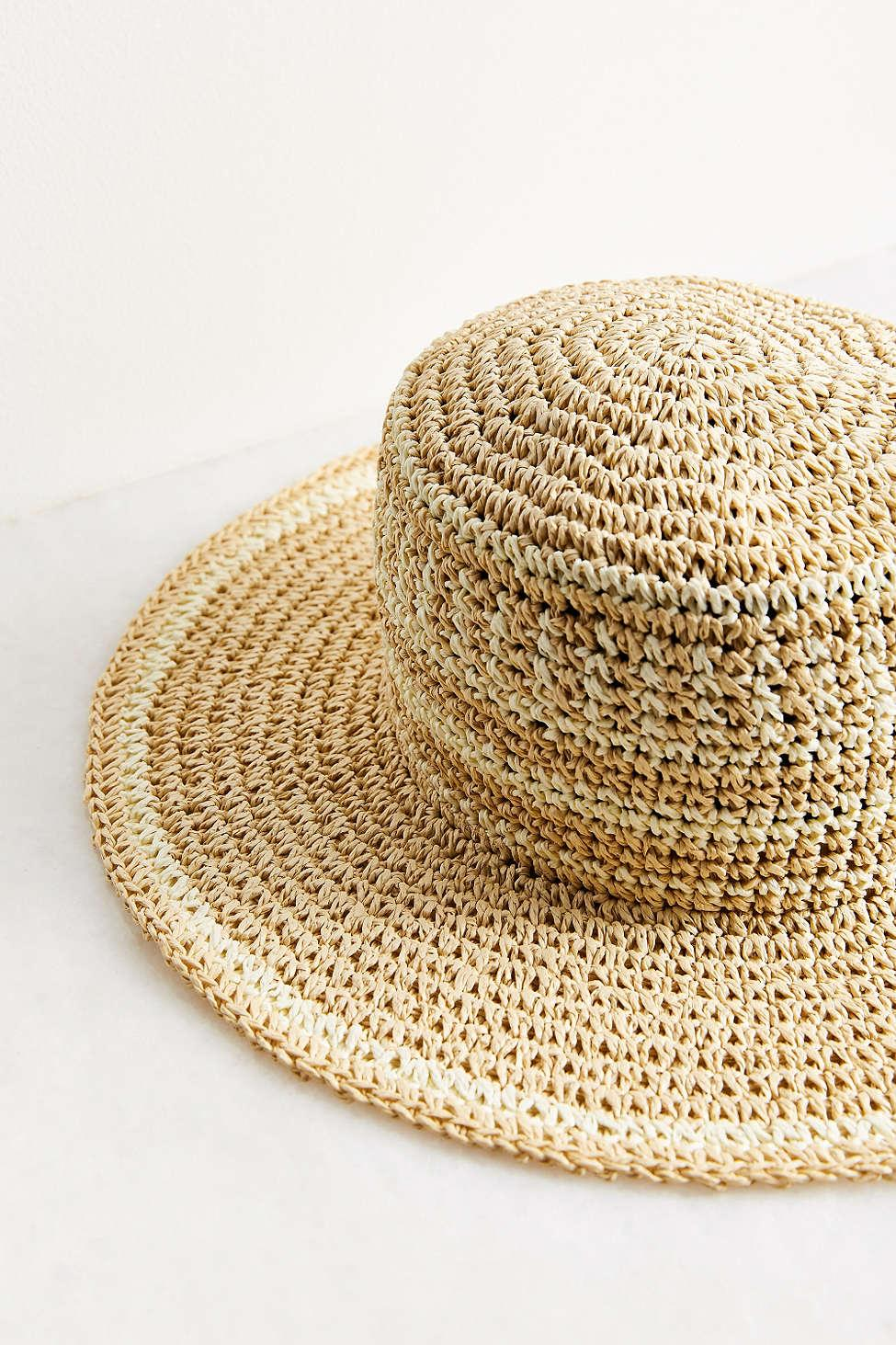 e4f8fba68f9 Ecote - Multicolor Geo Straw Packable Boater Hat - Lyst