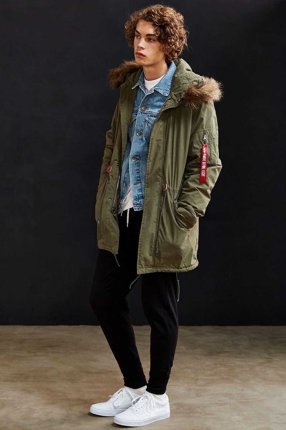Alpha industries J-4 Fishtail Faux Fur Parka Jacket for Men | Lyst